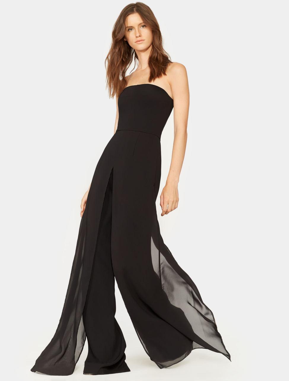 465839eb688d Lyst - Halston Chiffon Overlay Strapless Jumpsuit in Black