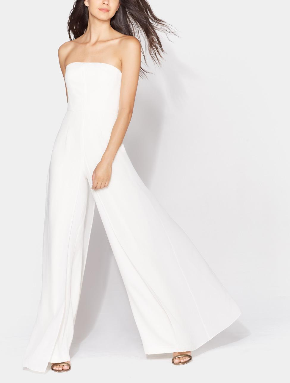 b227423fe64 Lyst - Halston Chiffon Overlay Strapless Jumpsuit in White