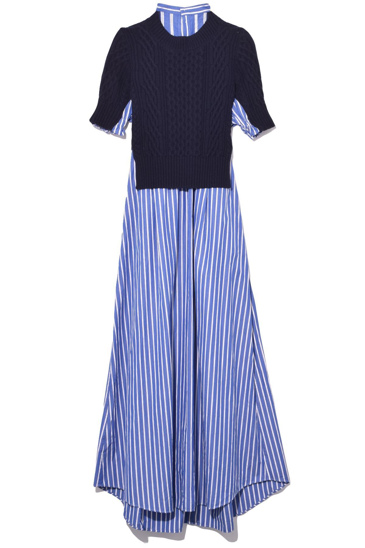 c74c184dfff Sacai Long Striped Dress in Blue - Lyst