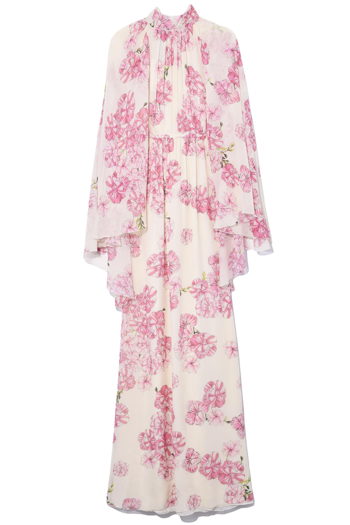 Valli Giambattista Ivorypeony Back Rose Gown Cape In DW9EH2IeY