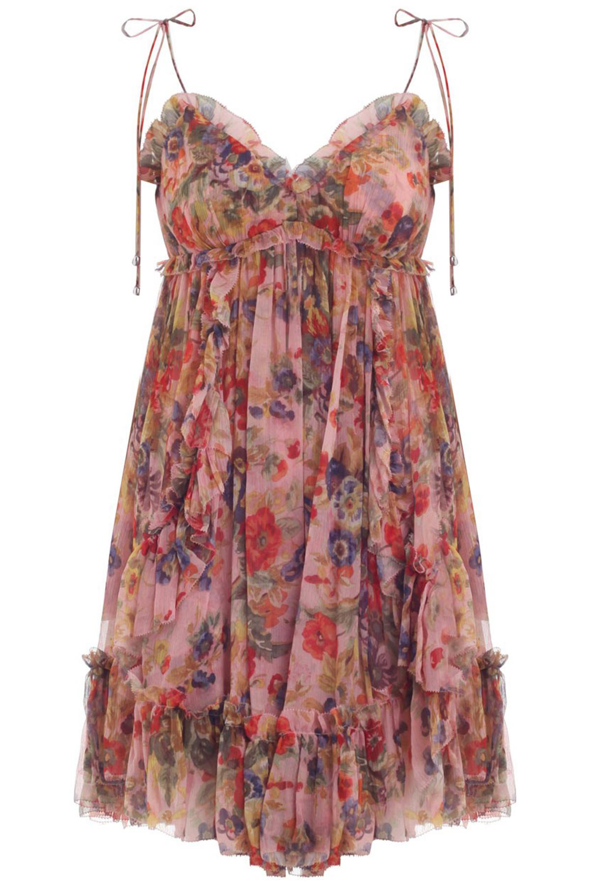 d8d8728aa992 Zimmermann Lovelorn Frill Mini Dress In Pink Floral in Pink - Lyst