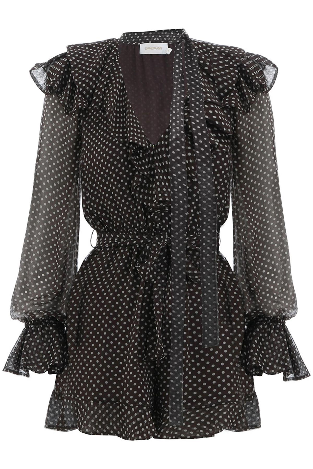 5e9f1053ce Lyst - Zimmermann Painted Heart Cascade Playsuit In Charcoal cream ...