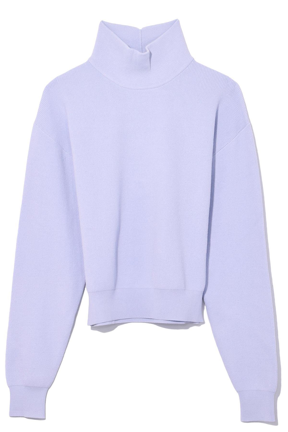 6076ddb9ef Lyst - Carven Knitted Short Sweater In Glacier in Purple