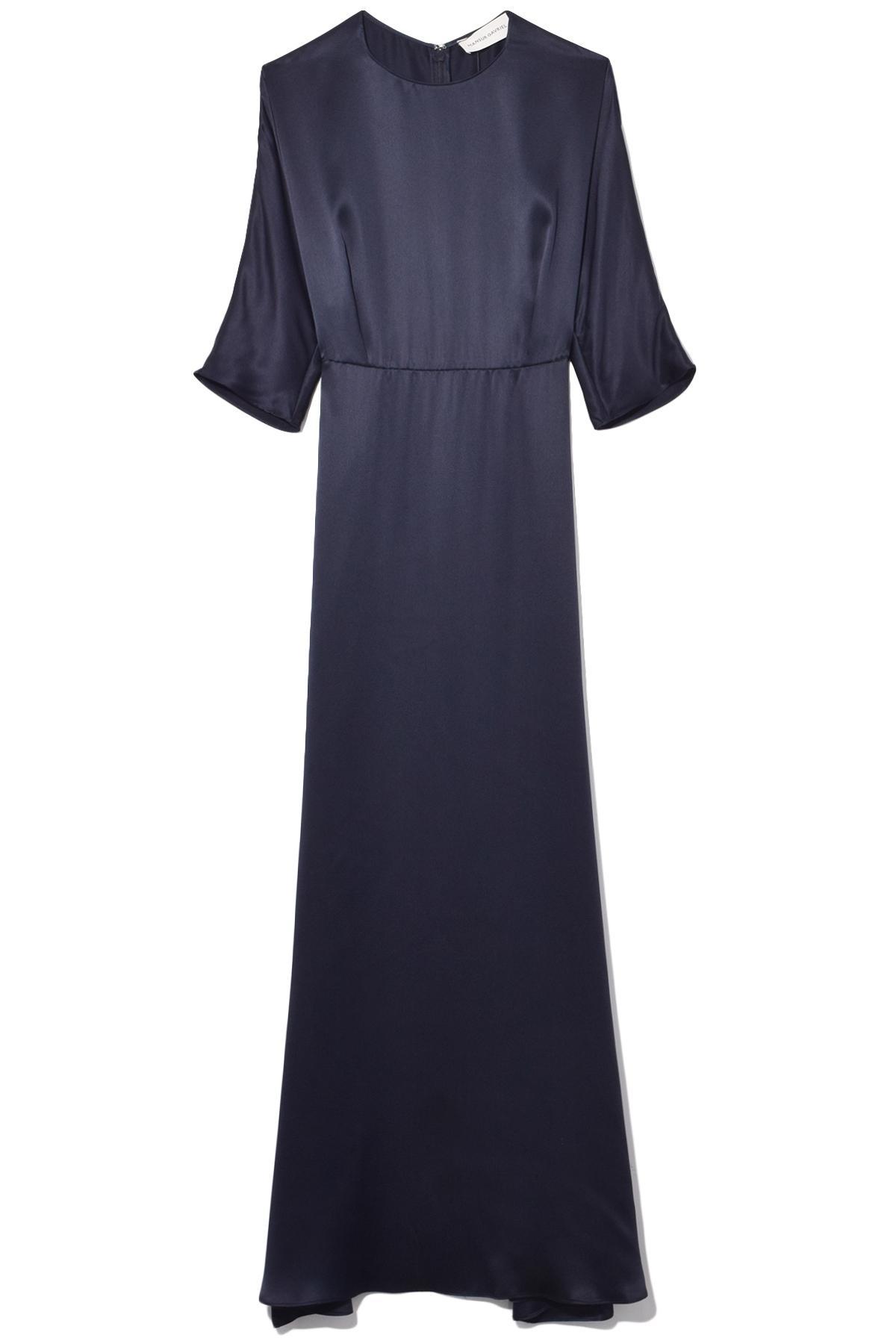 Gavriel Blue Lyst Dress Blu Silk Charmeuse Mansur Fine In WYH2eED9I