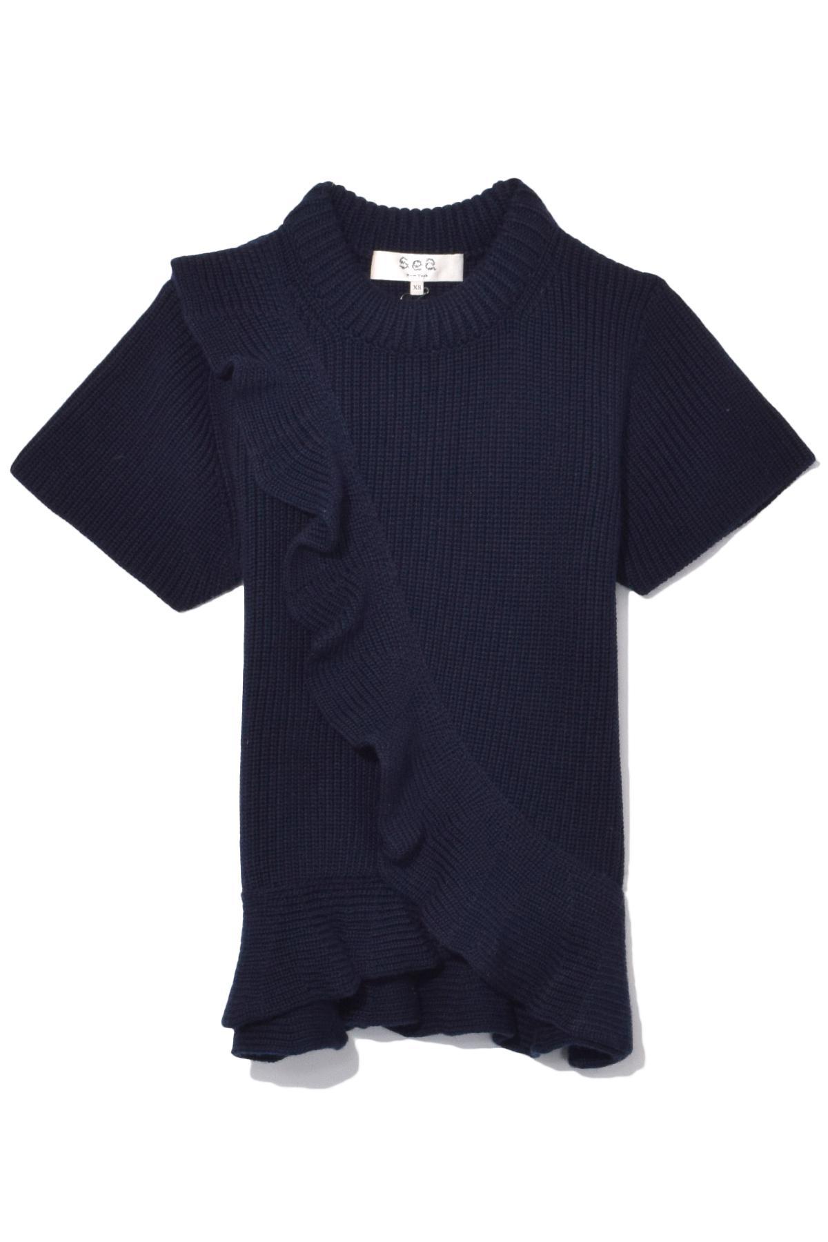 Sea Short Sleeve Ruffle Sweater In Navy in Blue | Lyst