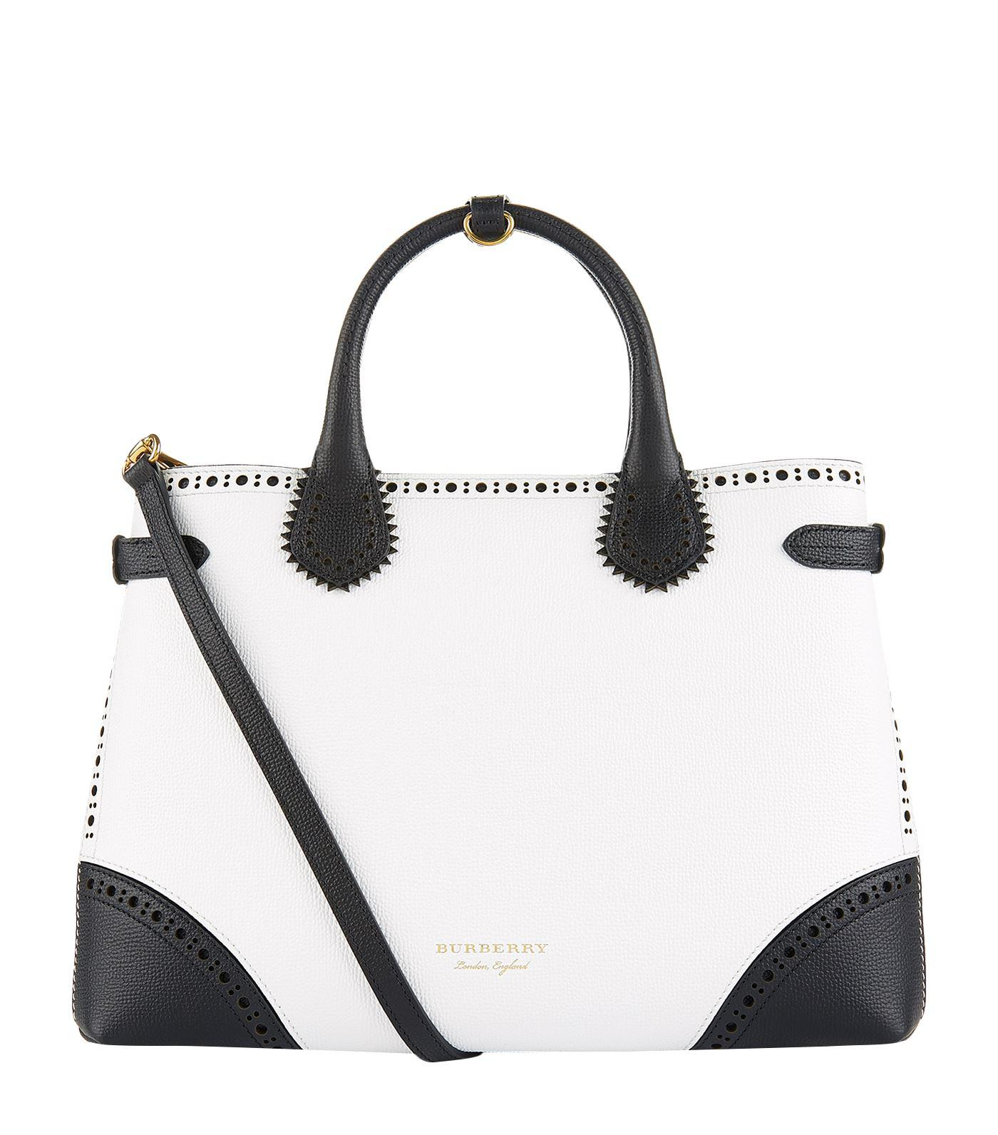 c6c16a24991a Lyst - Burberry Medium Perforated Banner Tote Bag in White