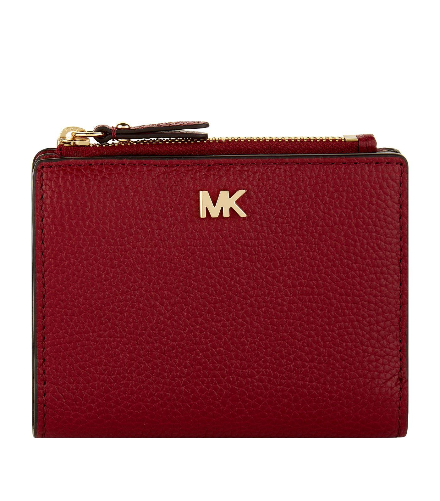 fd7b42f381a2 Lyst - MICHAEL Michael Kors Small Leather Snap Bifold Wallet in Red