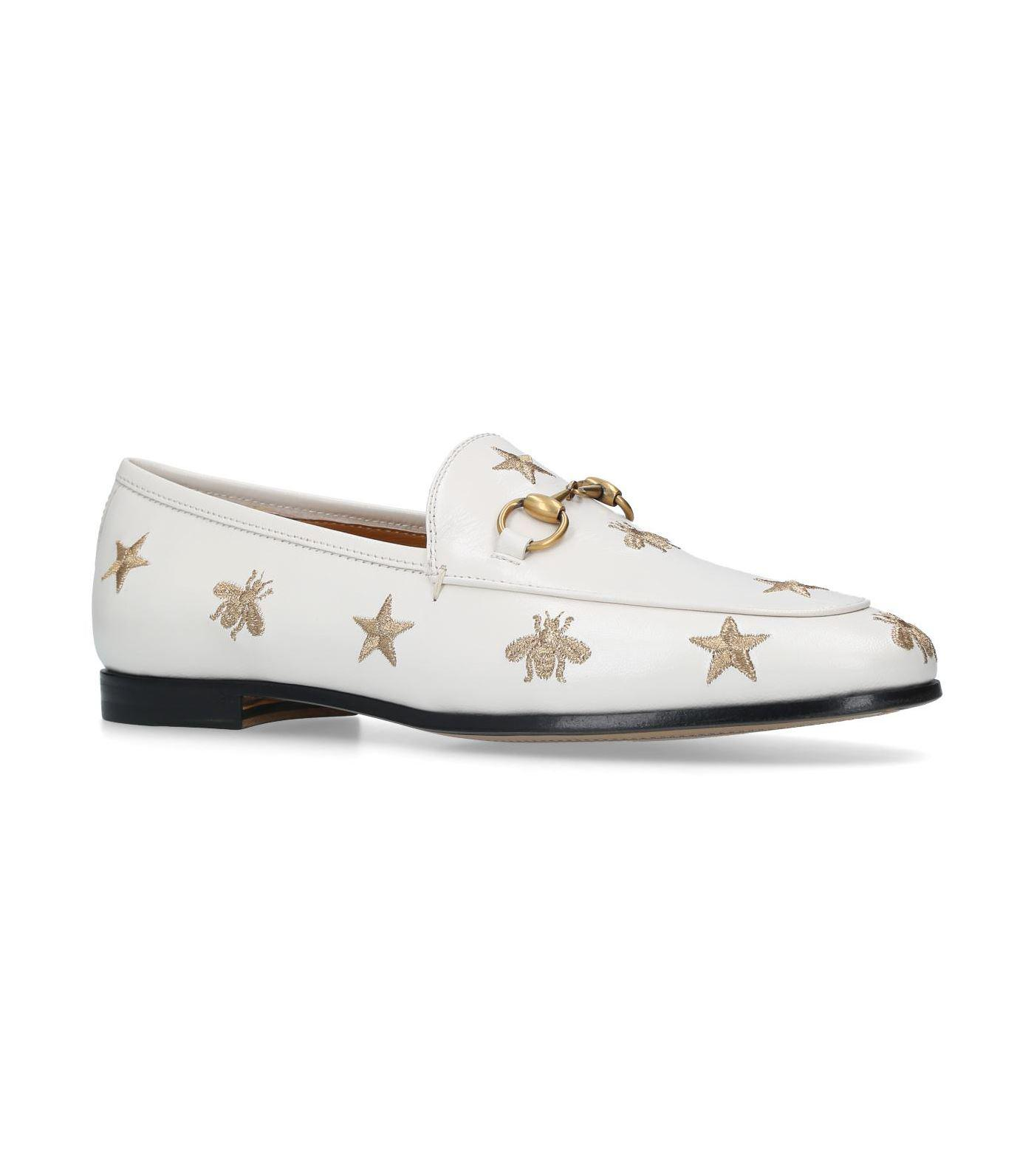 13eb32f500c Gucci Embroidered Jordaan Loafers in White - Lyst