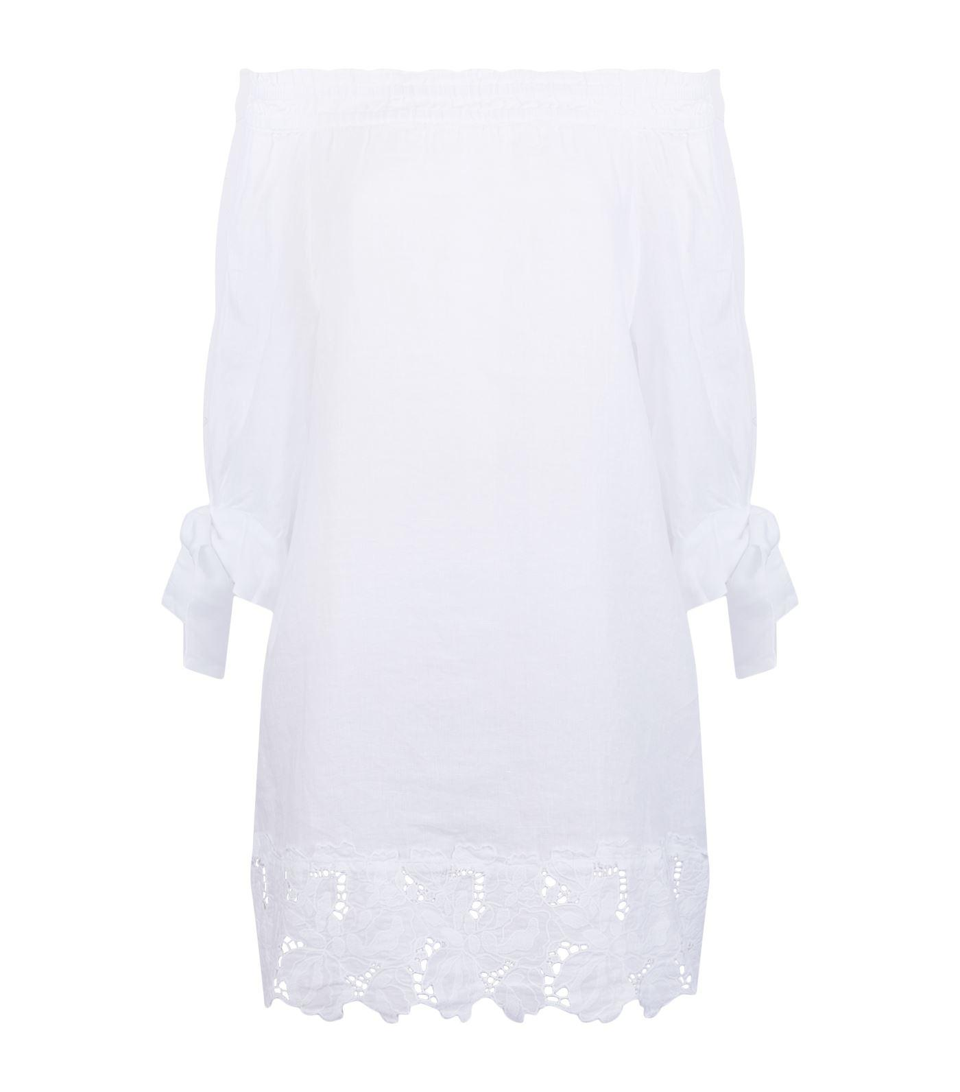 9c13ed3d11 120% Lino Off Shoulder Embroidered Dress in White - Lyst