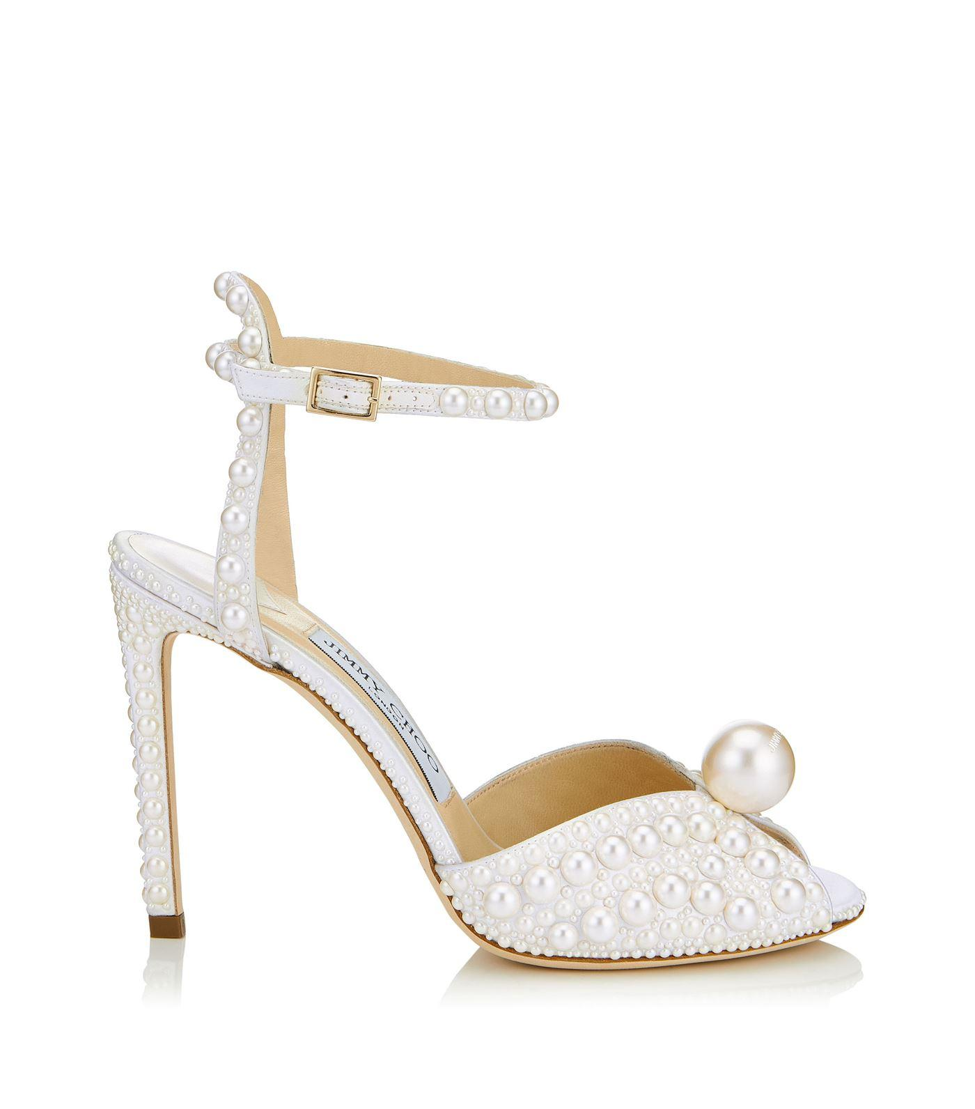 89cdf349d680 Jimmy Choo Sacora 100 Satin Pearl Sandals in White - Lyst