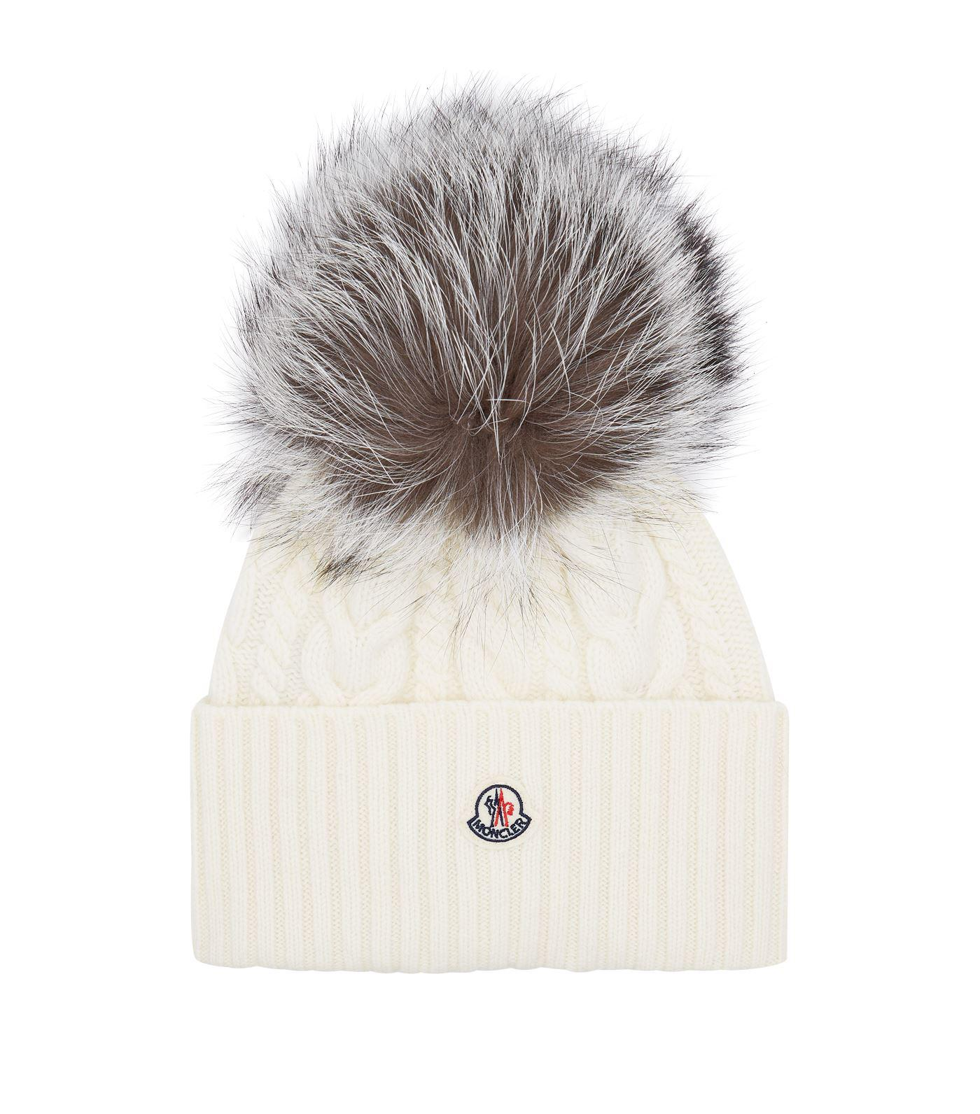 12914e60f146c Moncler - White Fox Fur Bobble Hat - Lyst. View fullscreen