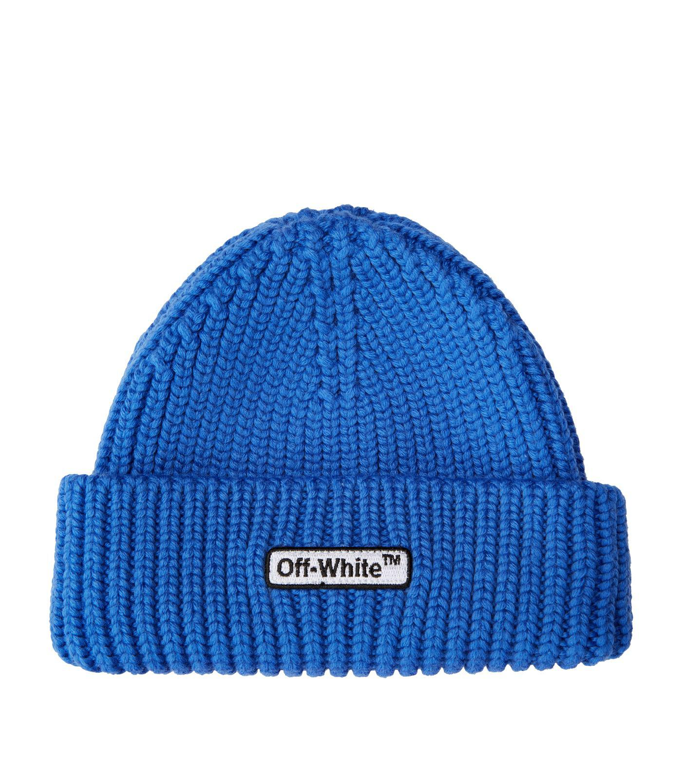 f1633806 Off-White c/o Virgil Abloh Patch Beanie in Blue for Men - Lyst