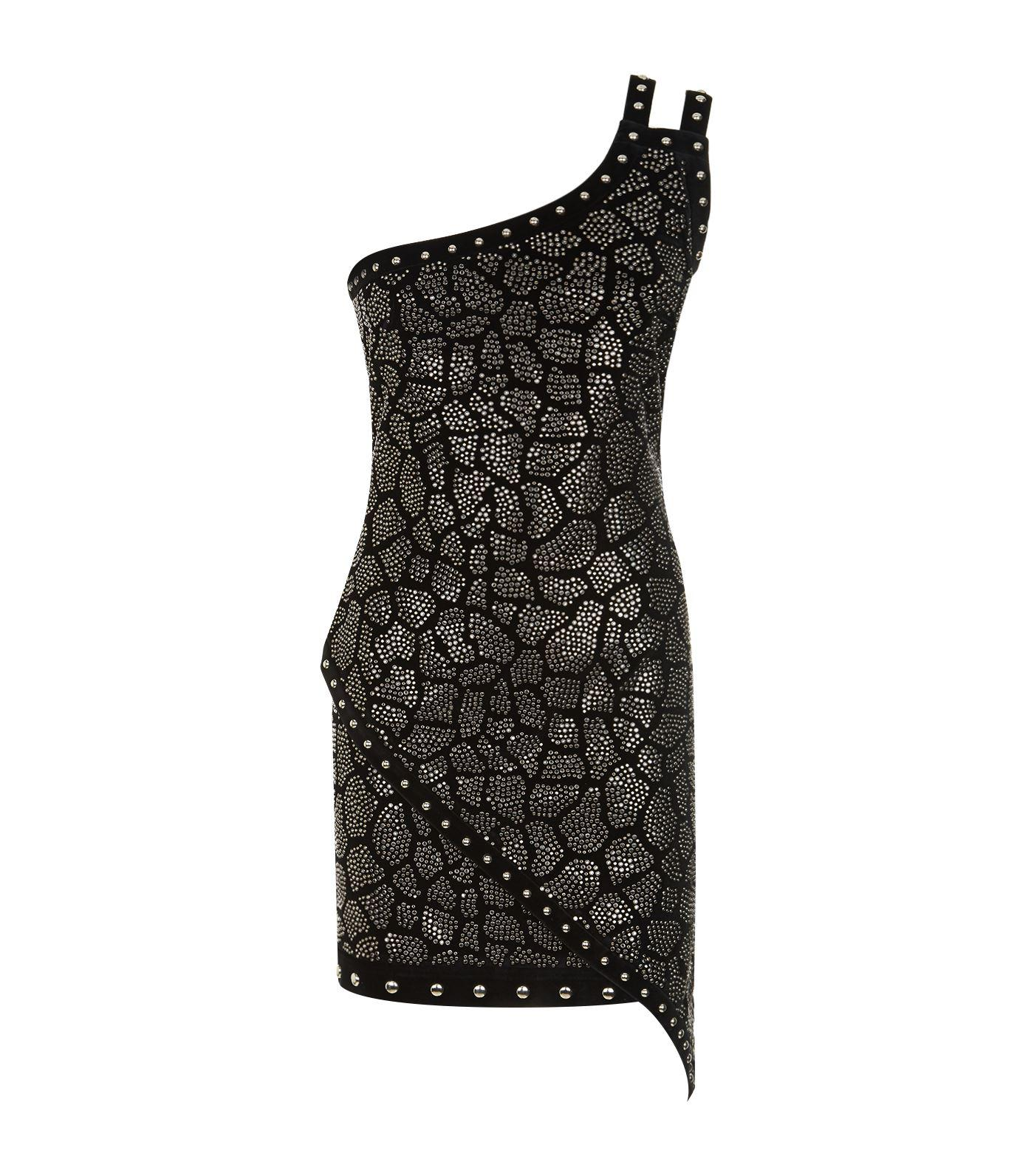 333f75e8 Lyst - Balmain Embellished One-shoulder Mini Dress in Black