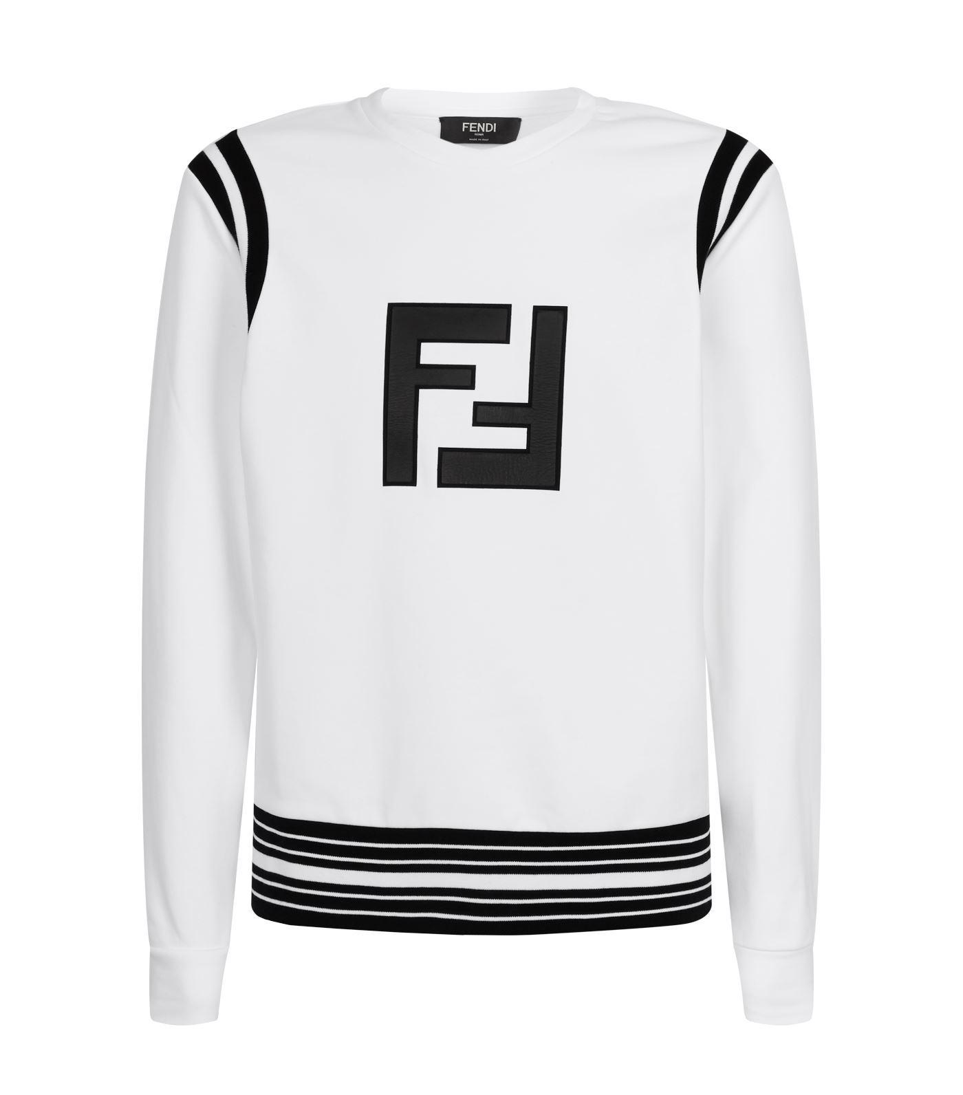80d7a350c7be Fendi - White Stripe Trim Logo Sweatshirt for Men - Lyst. View fullscreen