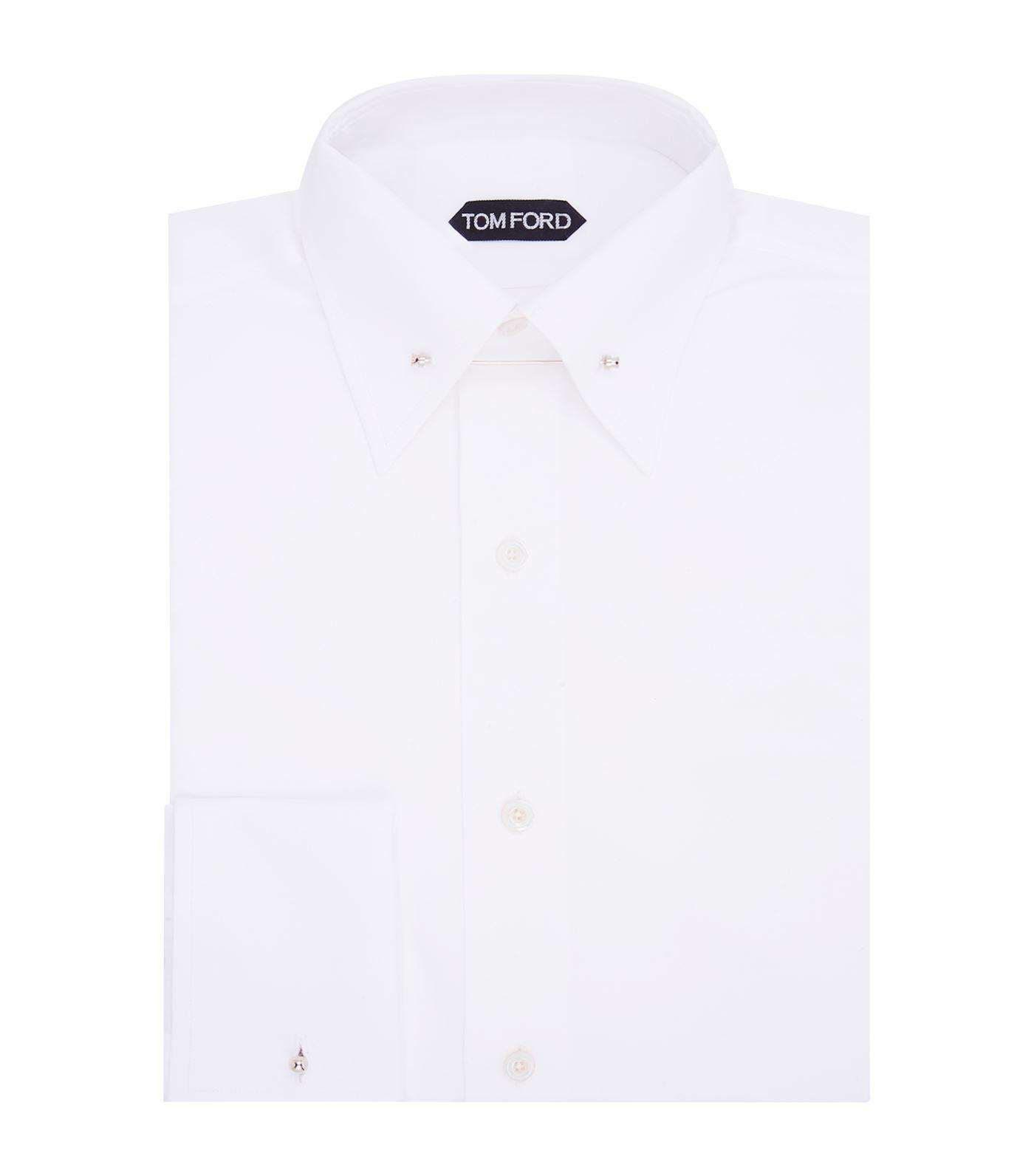 Tommy Hilfiger White French Cuff Dress Shirt With Collar Bar Bcd