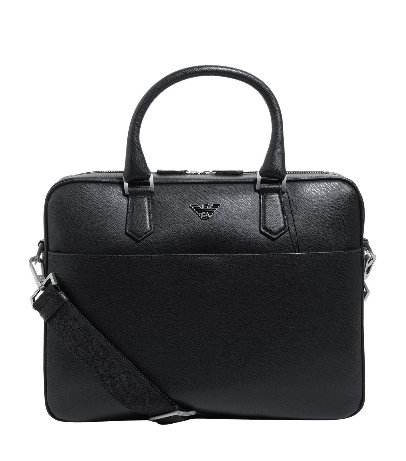 f93856ef7f Lyst - Emporio Armani Leather Eagle Briefcase in Black for Men
