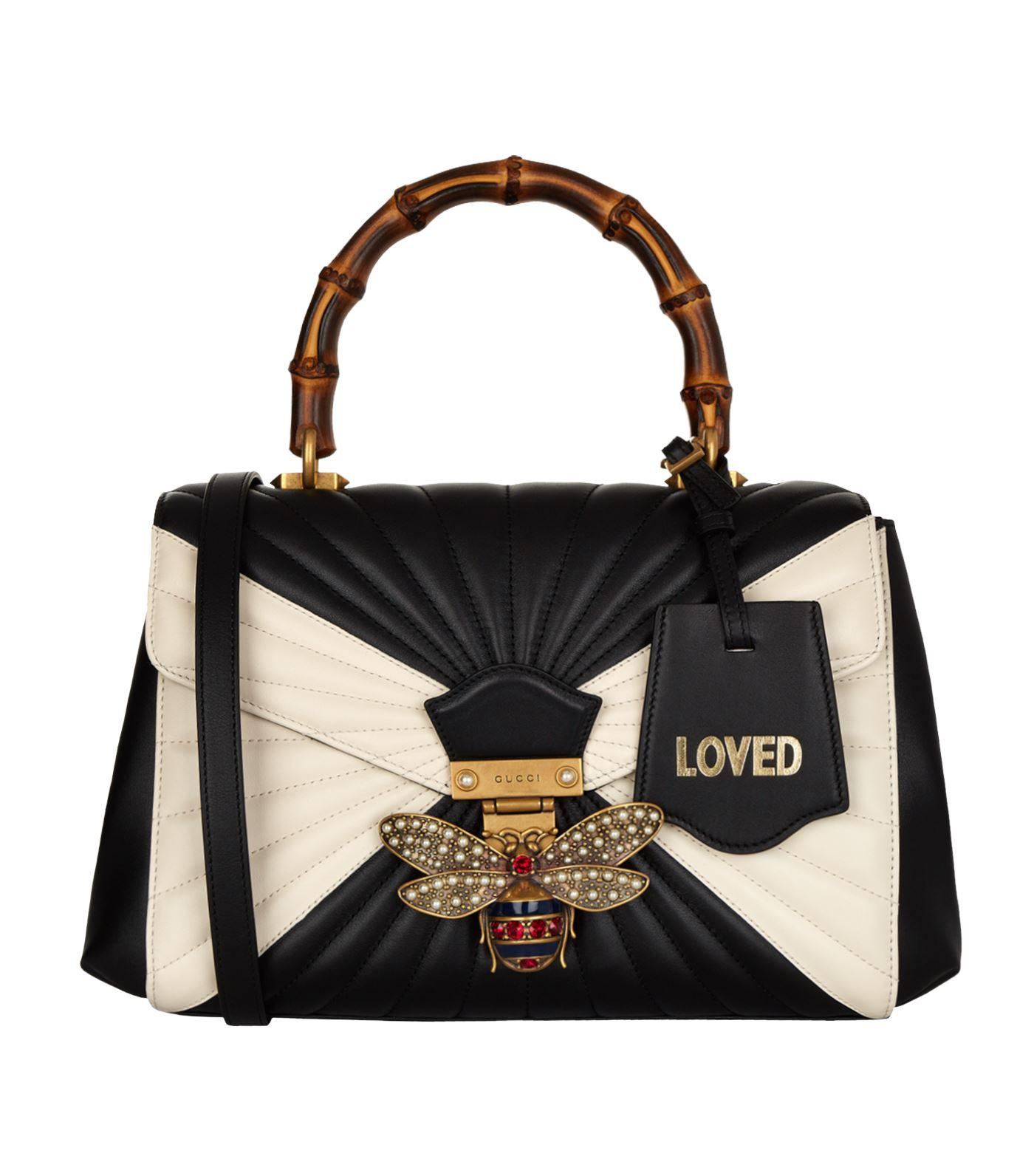 e67bc0b69642 Gucci Queen Margaret Bamboo Top Handle Bag in Black - Lyst