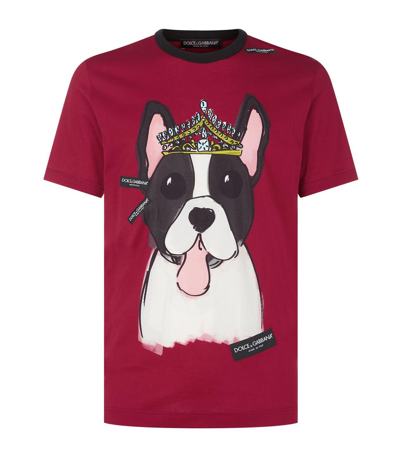 02e92f123b5cfc Lyst - Dolce   Gabbana Dog Print T-shirt in Red for Men