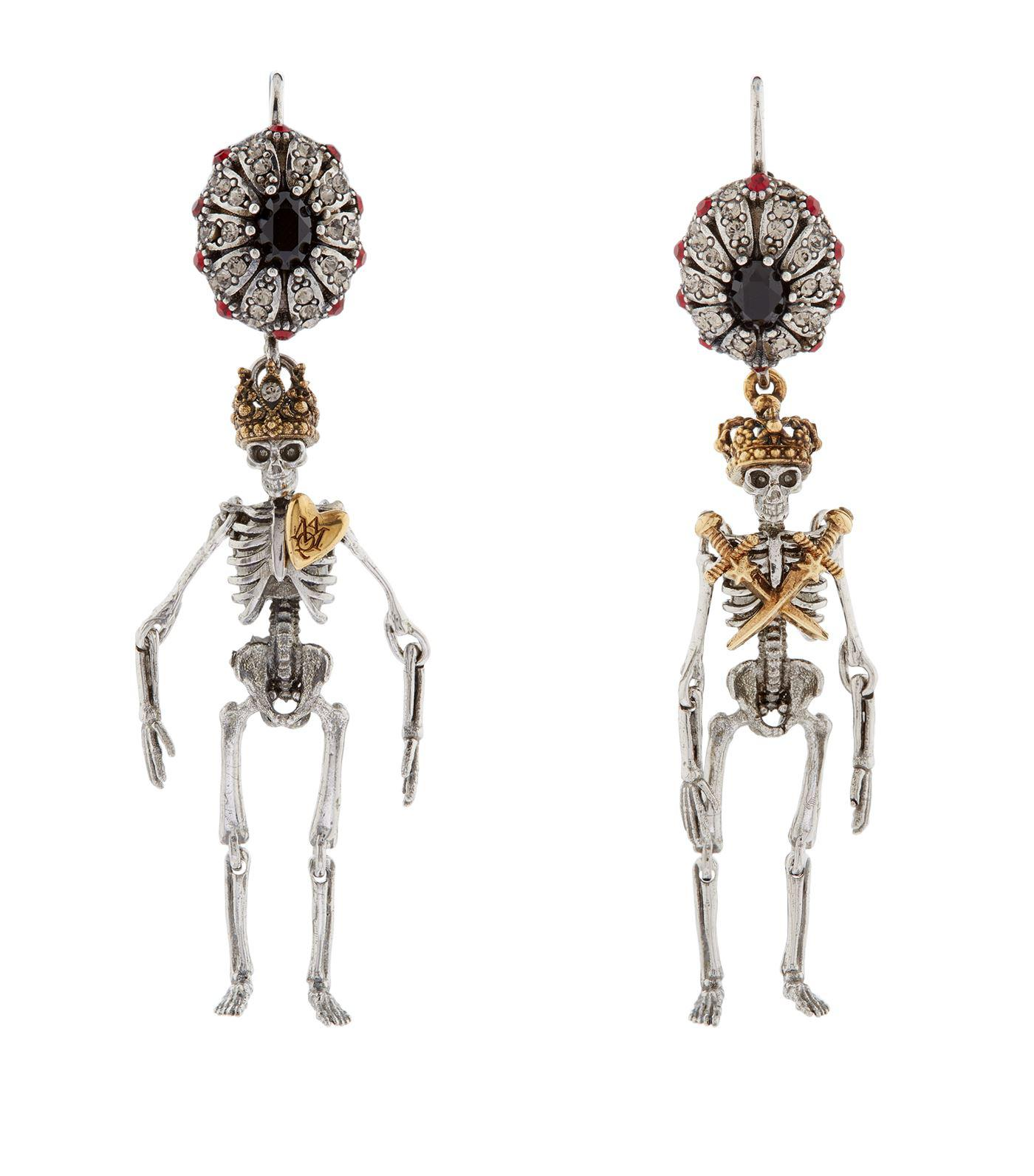 Queen and King skeleton earrings Alexander McQueen 5zKvoXz