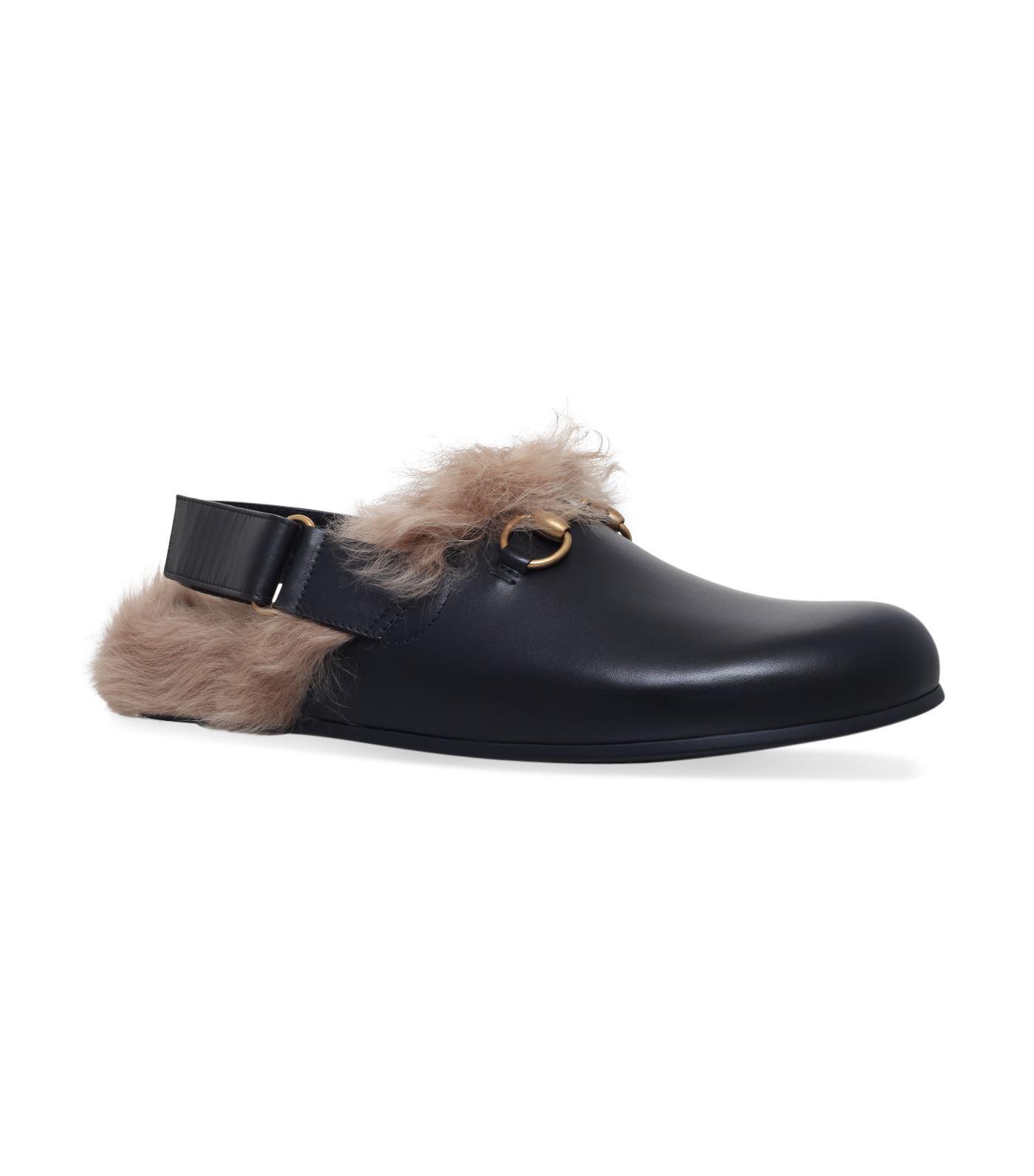 c814b2ba0 Gucci River Fur Slides in Black - Lyst