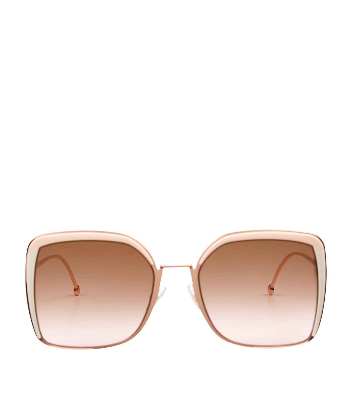 0d4a4d89cea Lyst - Fendi Logo Square Sunglasses in Brown