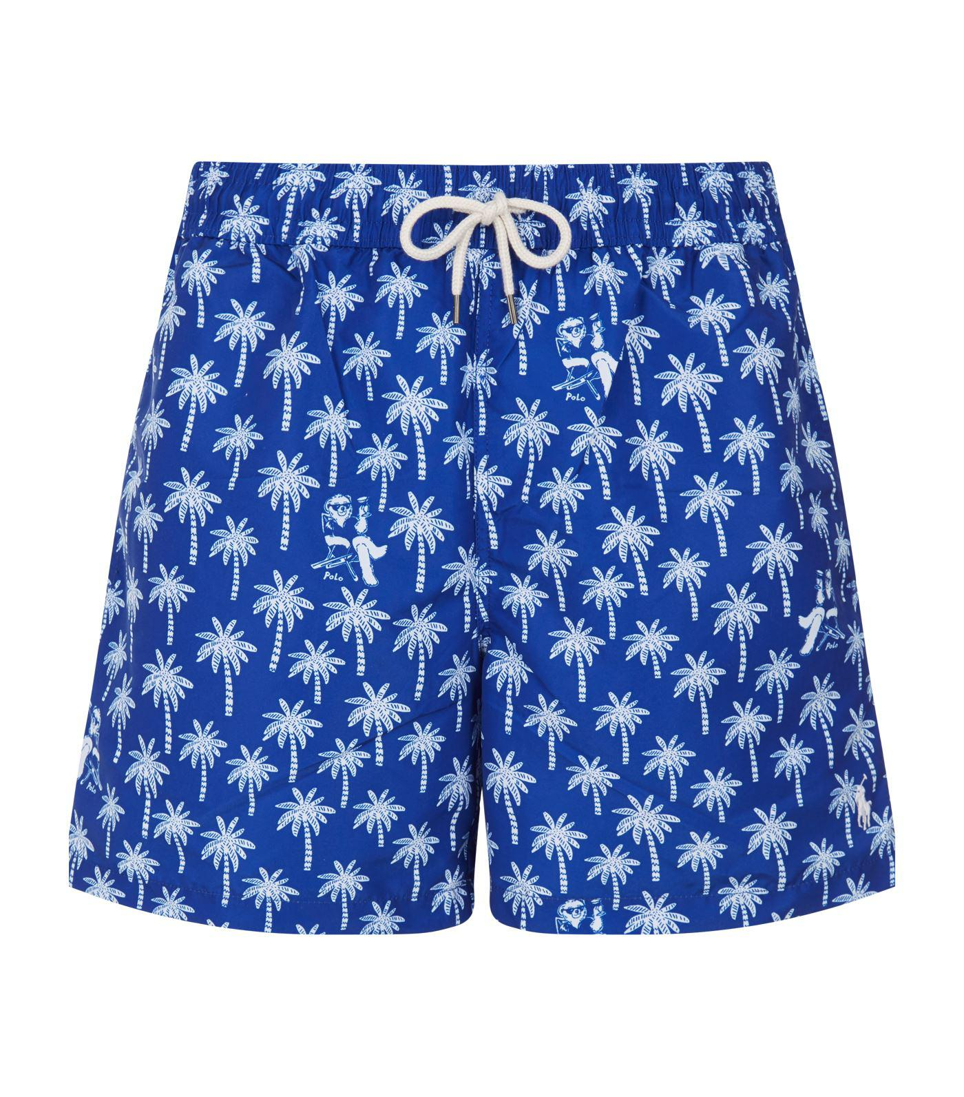 2d2781807b Lyst - Polo Ralph Lauren Palmtree Swim Shorts in Blue for Men