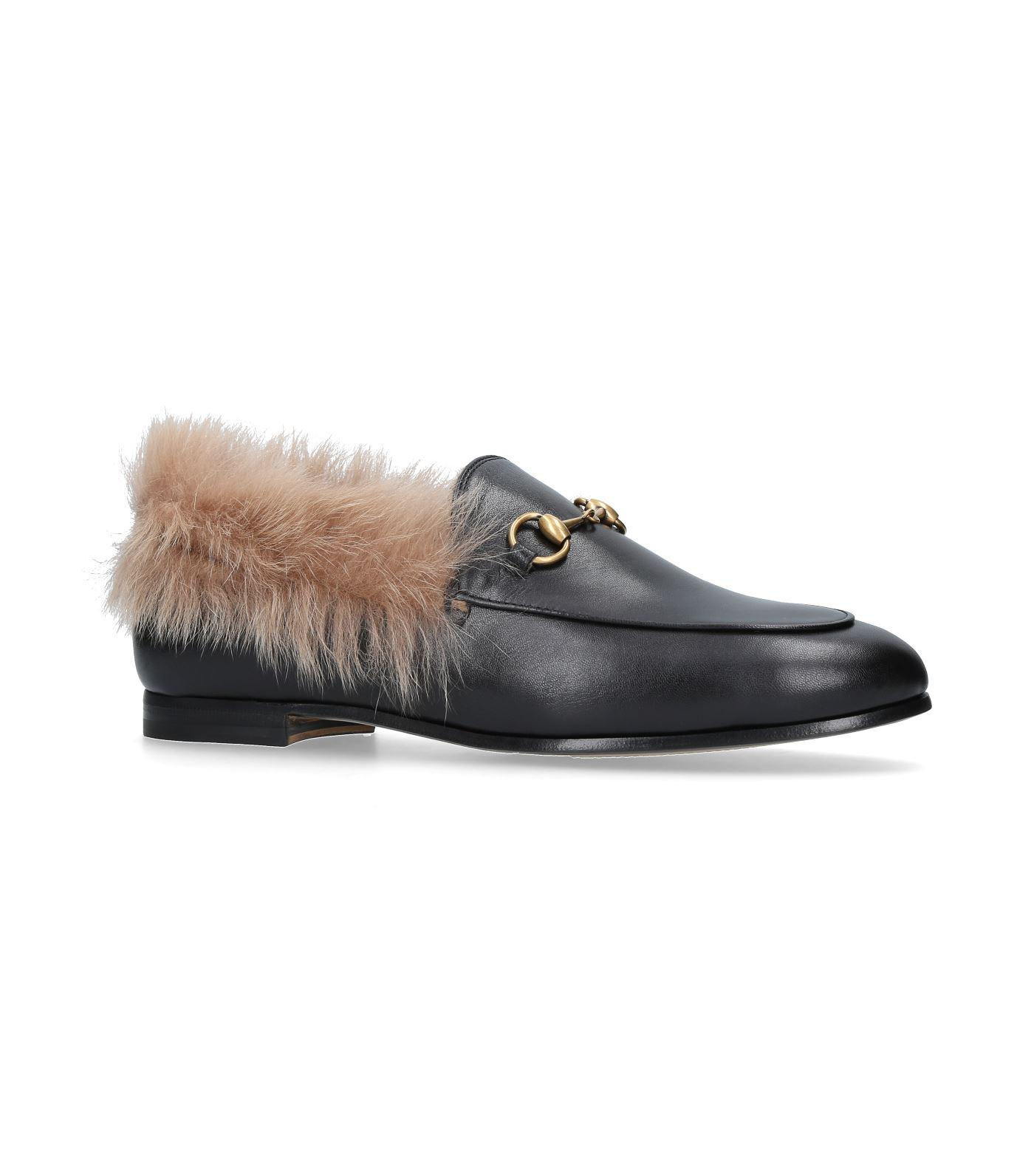 5149f0ca5 Lyst - Gucci Jordaan Fur Lined Loafers in Black - Save 24%