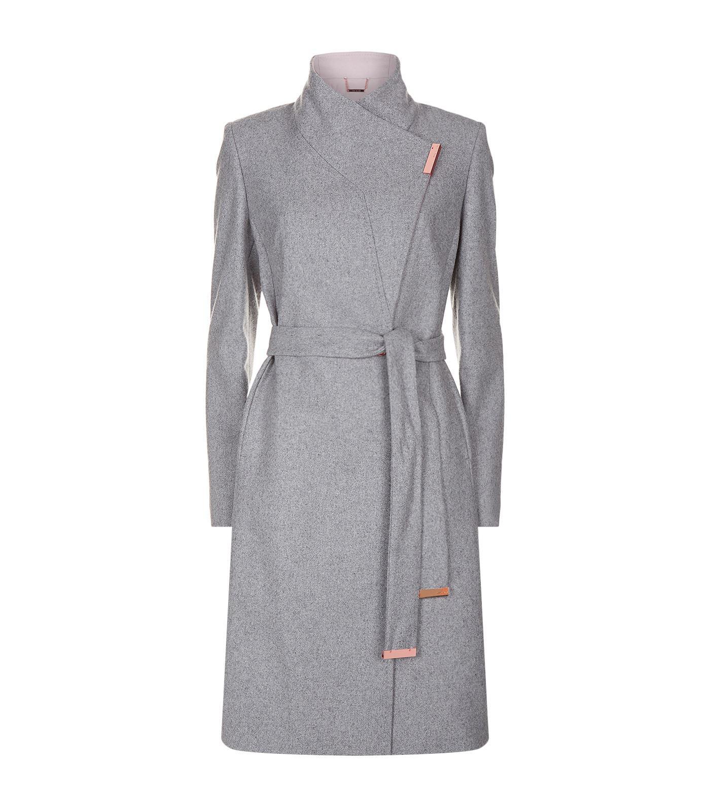 4c9c675eacd4 Lyst - Ted Baker Khera Wrap Coat in Gray