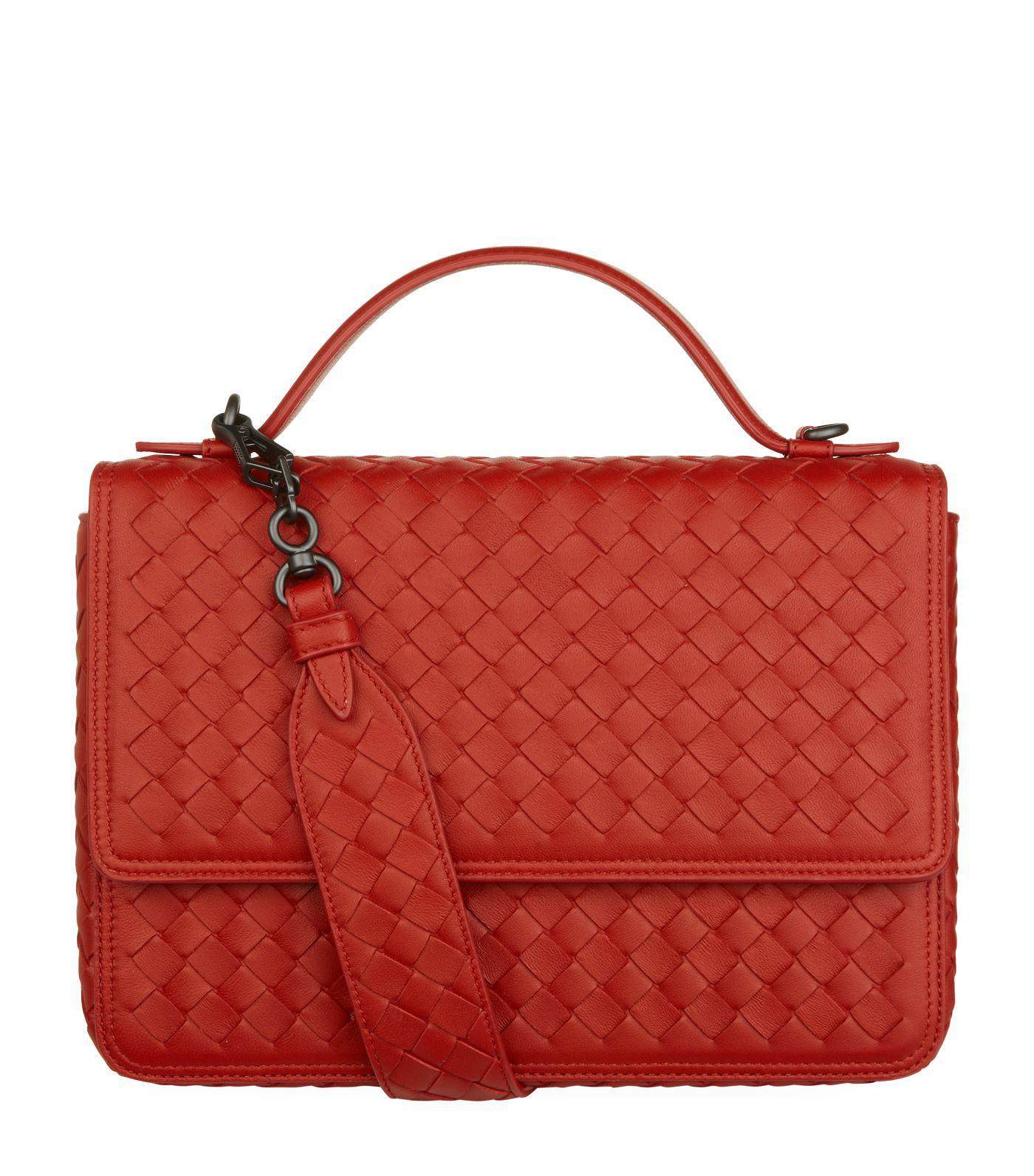 Lyst - Bottega Veneta Leather Alumna Shoulder Bag in Red 276f8affa0