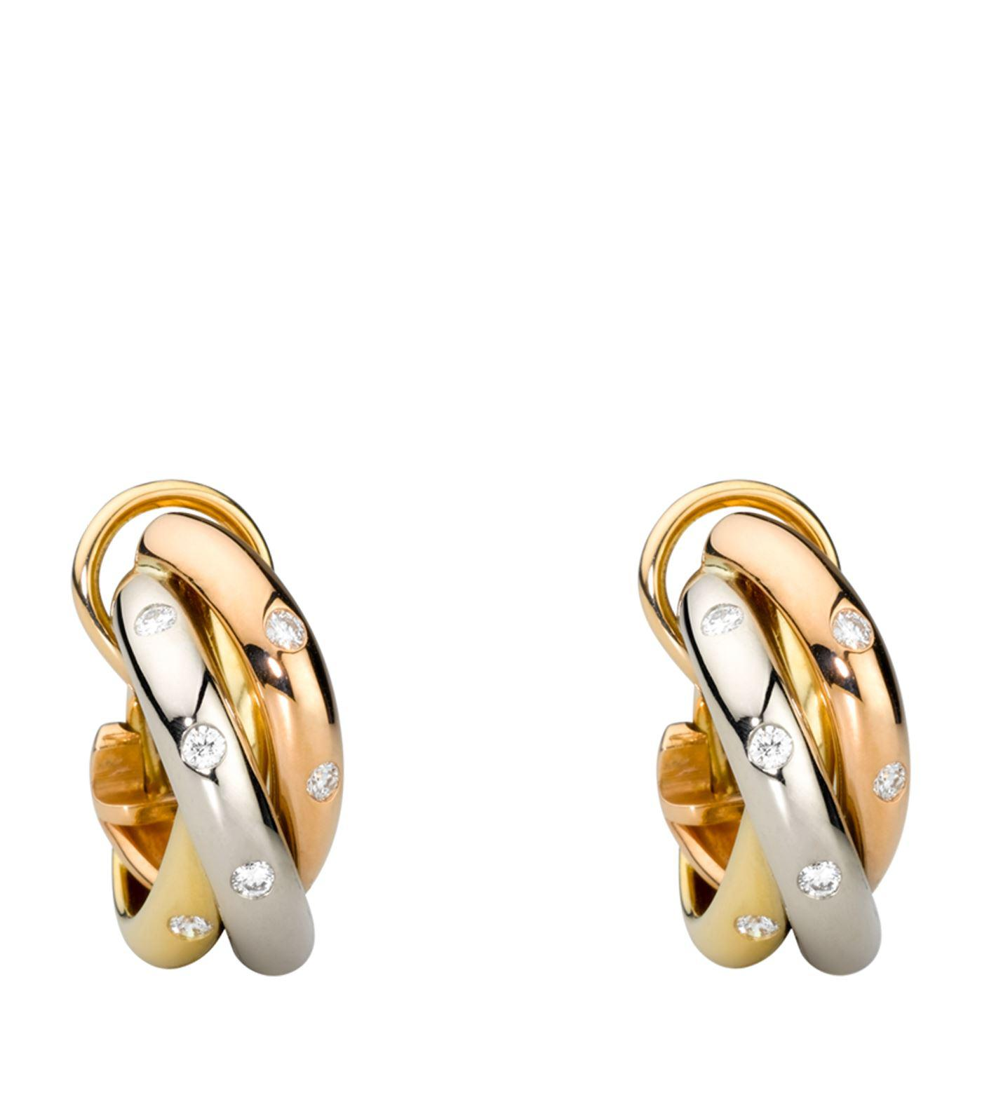 lyst sweet metallic trinity and diamond cartier in s gold jewelry de earrings women