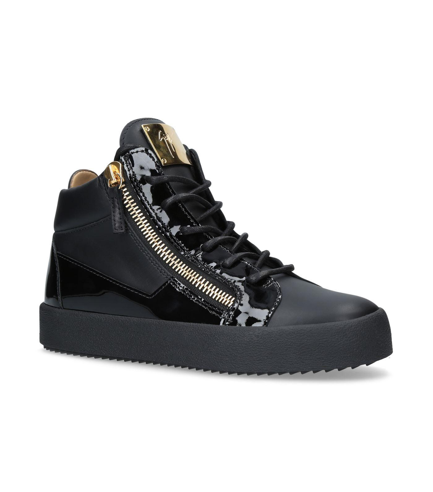 5750a0c7542c1 Lyst - Giuseppe Zanotti Patent Mix Mid Top Sneakers in Black