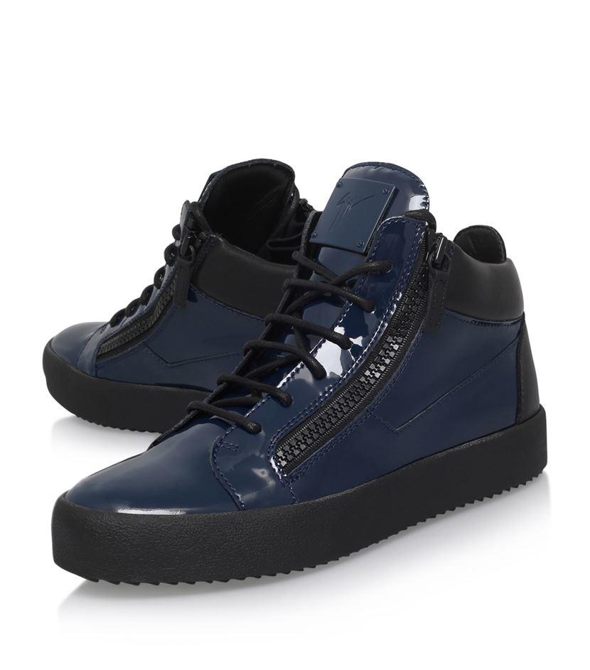 Giuseppe Zanotti Mid Patent Sneakers In Blue For Men