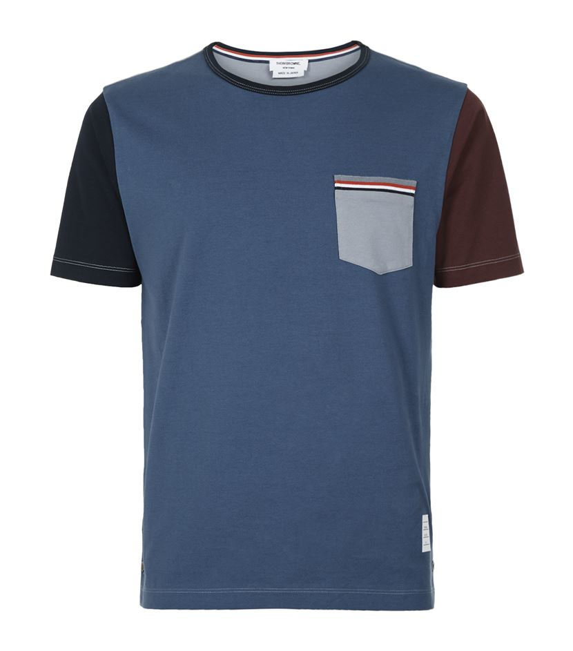 Thom browne striped pocket colour block t shirt in blue for Thom browne t shirt