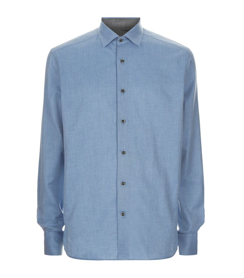 corneliani brushed cotton twill shirt in blue for men lyst