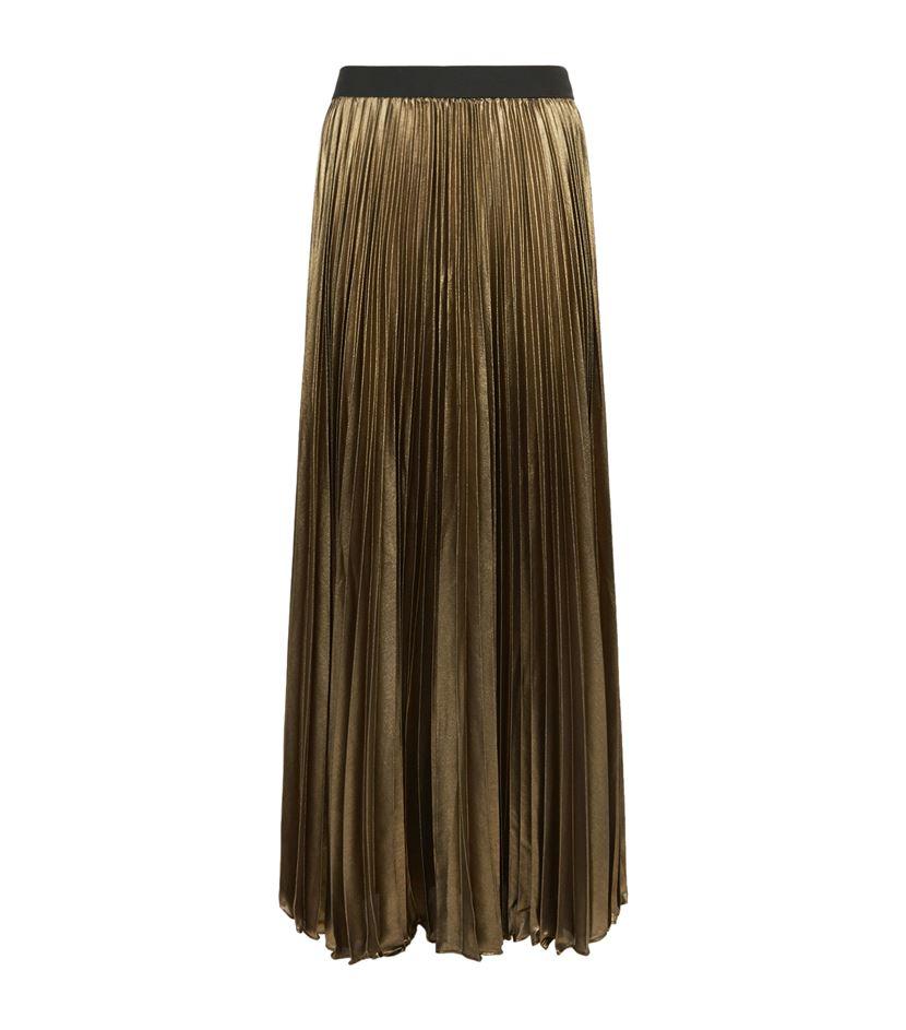 bcbgmaxazria dallin pleated metallic maxi skirt in green