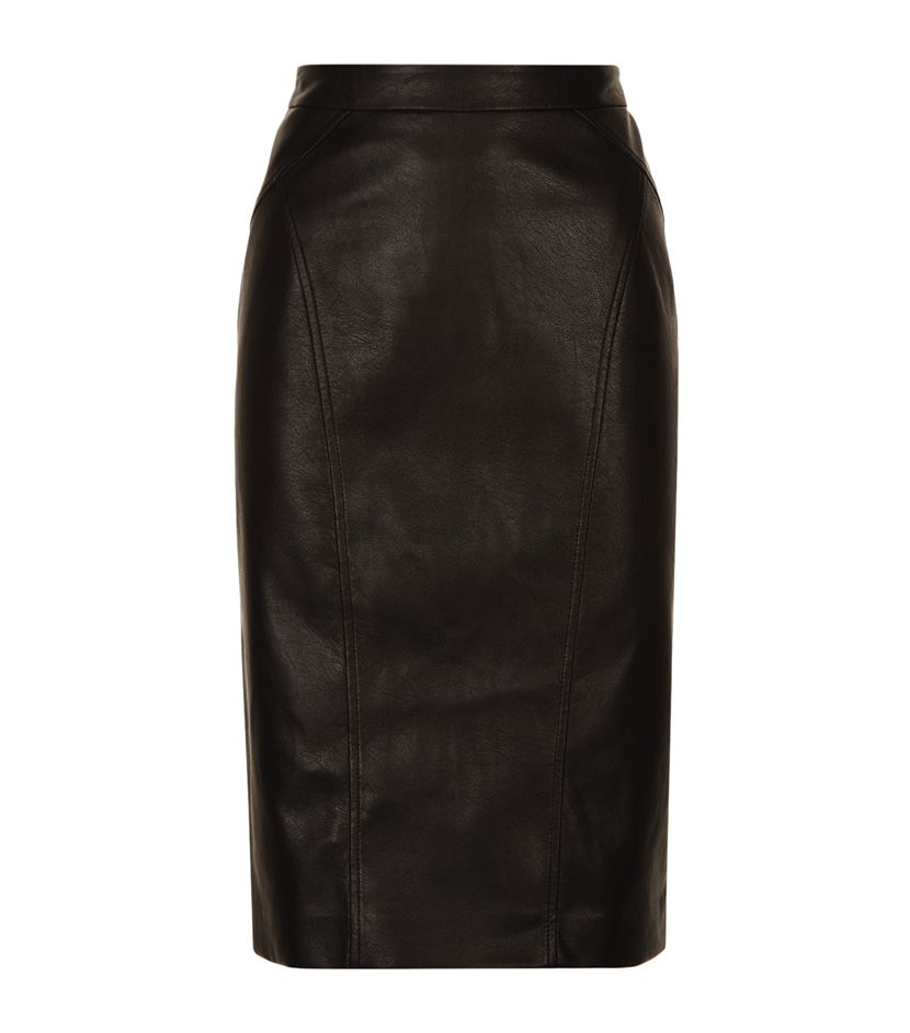 bcbgmaxazria faux leather pencil skirt in black lyst