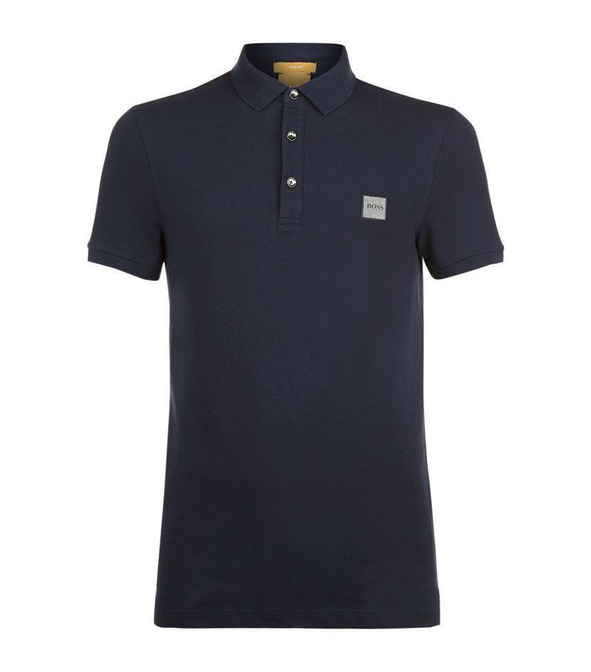 Lyst boss orange logo stretch polo shirt in blue for men for Stretch polo shirt mens