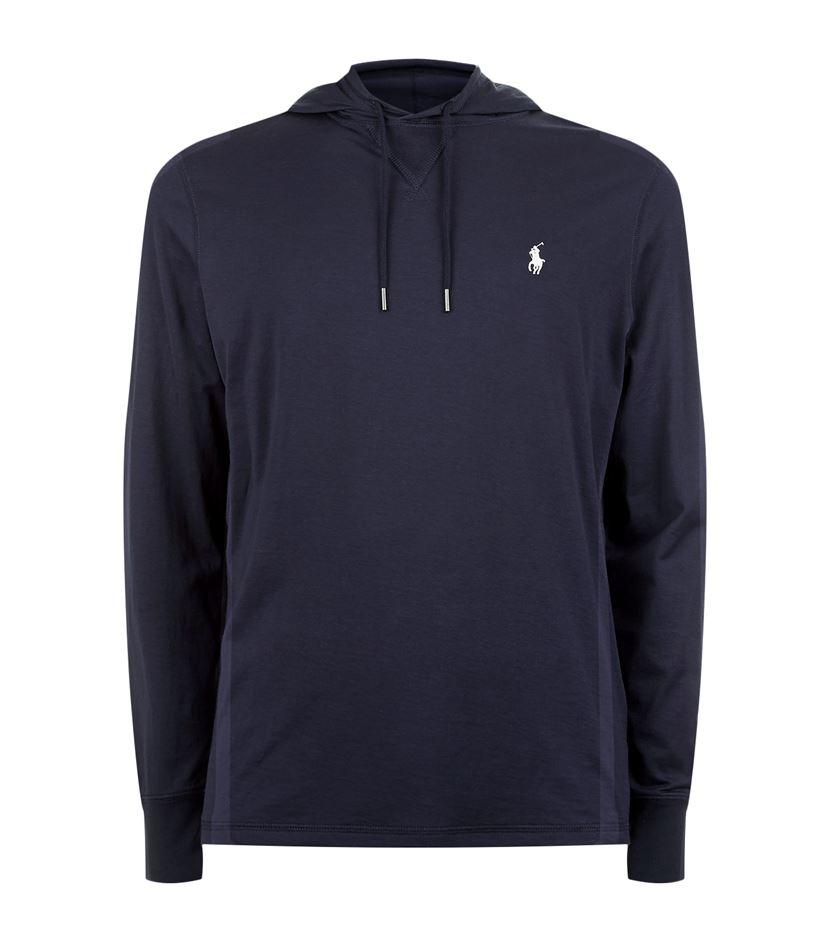 polo ralph lauren logo jersey hooded sweatshirt in blue for men lyst. Black Bedroom Furniture Sets. Home Design Ideas