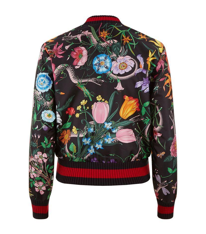 Gucci Floral Snake Bomber Jacket In Black Lyst