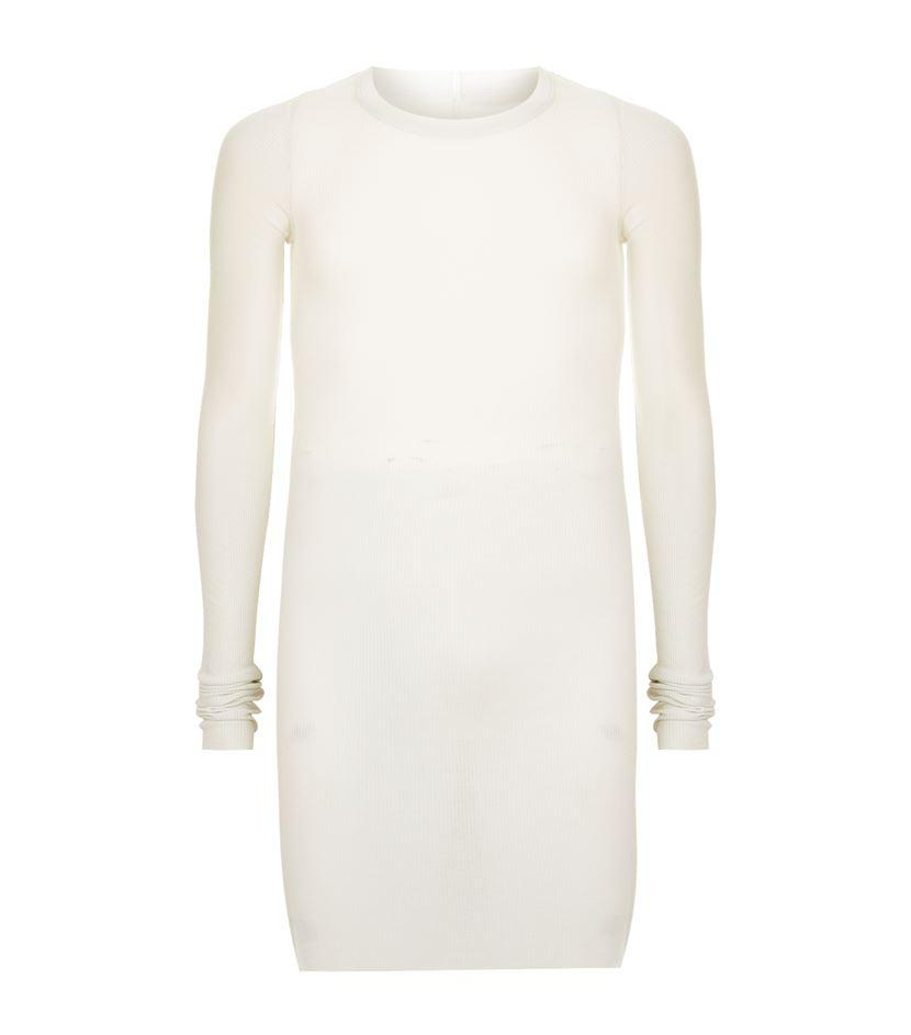 Rick owens ribbed long sleeve t shirt in white for men lyst for Ribbed long sleeve shirt