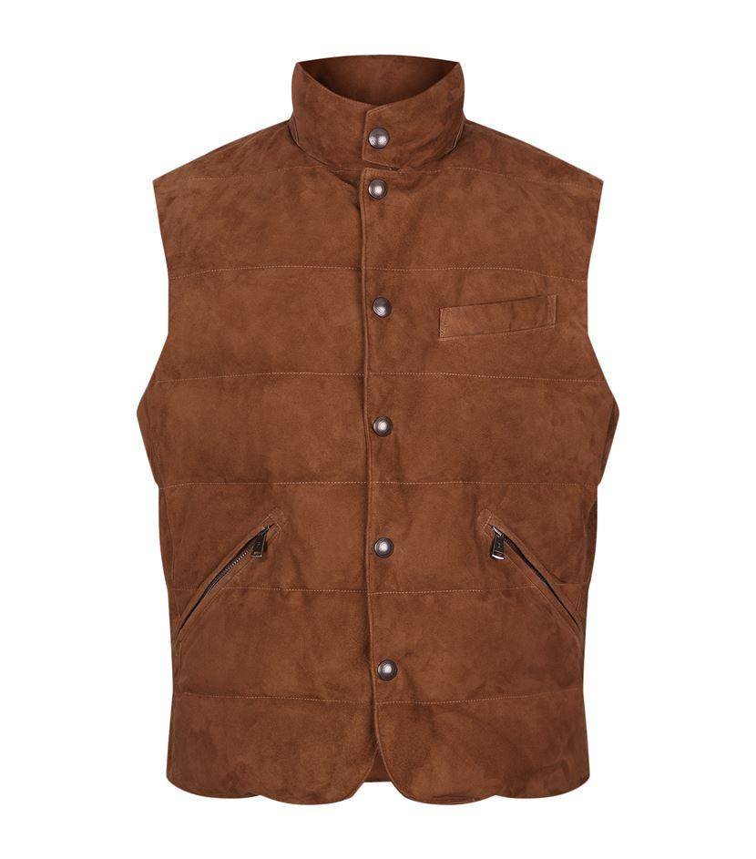 polo ralph lauren suede quilted gilet in brown for men lyst. Black Bedroom Furniture Sets. Home Design Ideas
