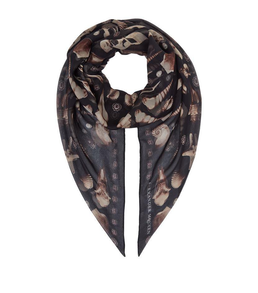 mcqueen ghost shell silk scarf lyst