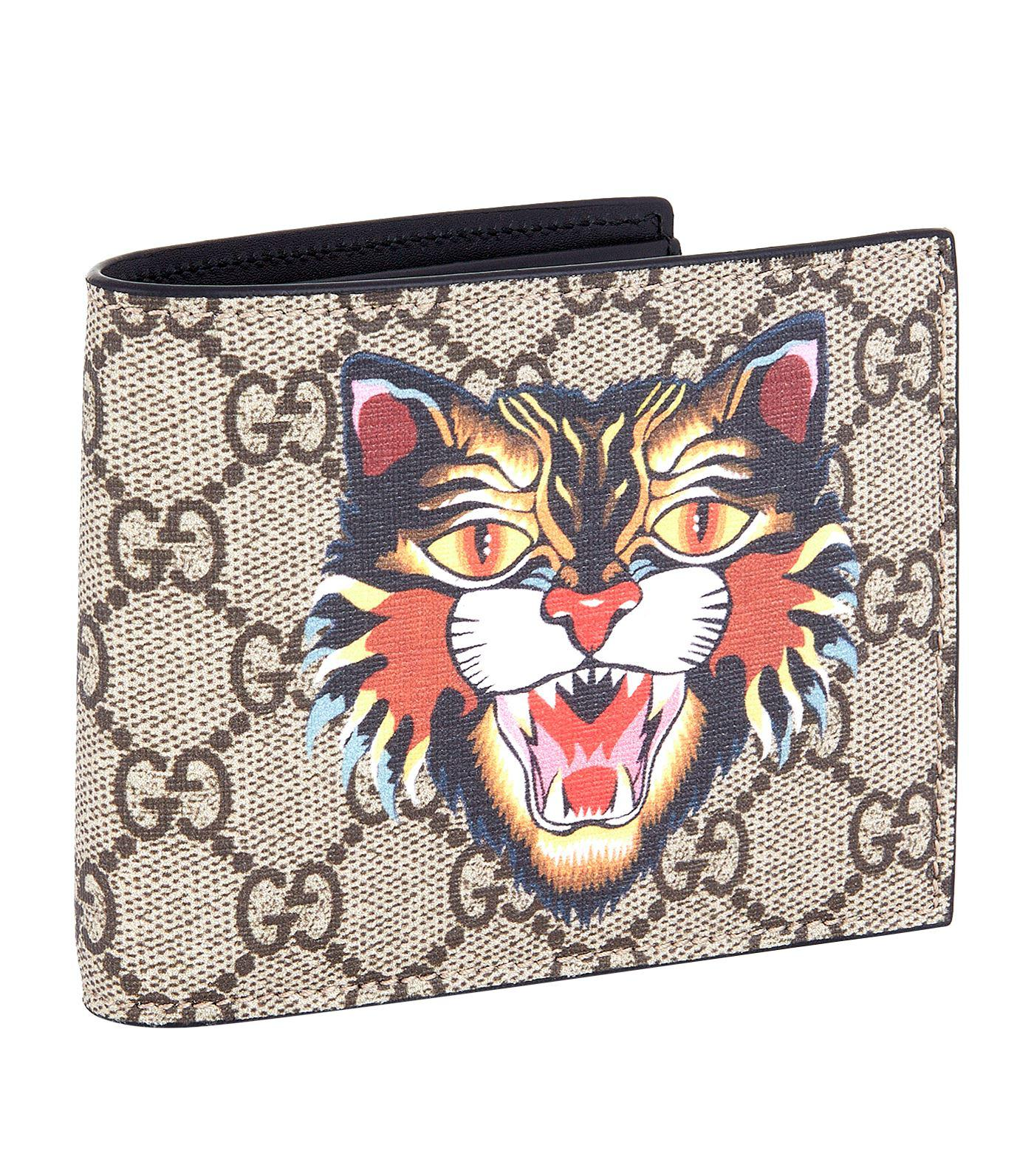 Lyst - Gucci Angry Cat Bifold Wallet in Natural ee3ad4adf3ef