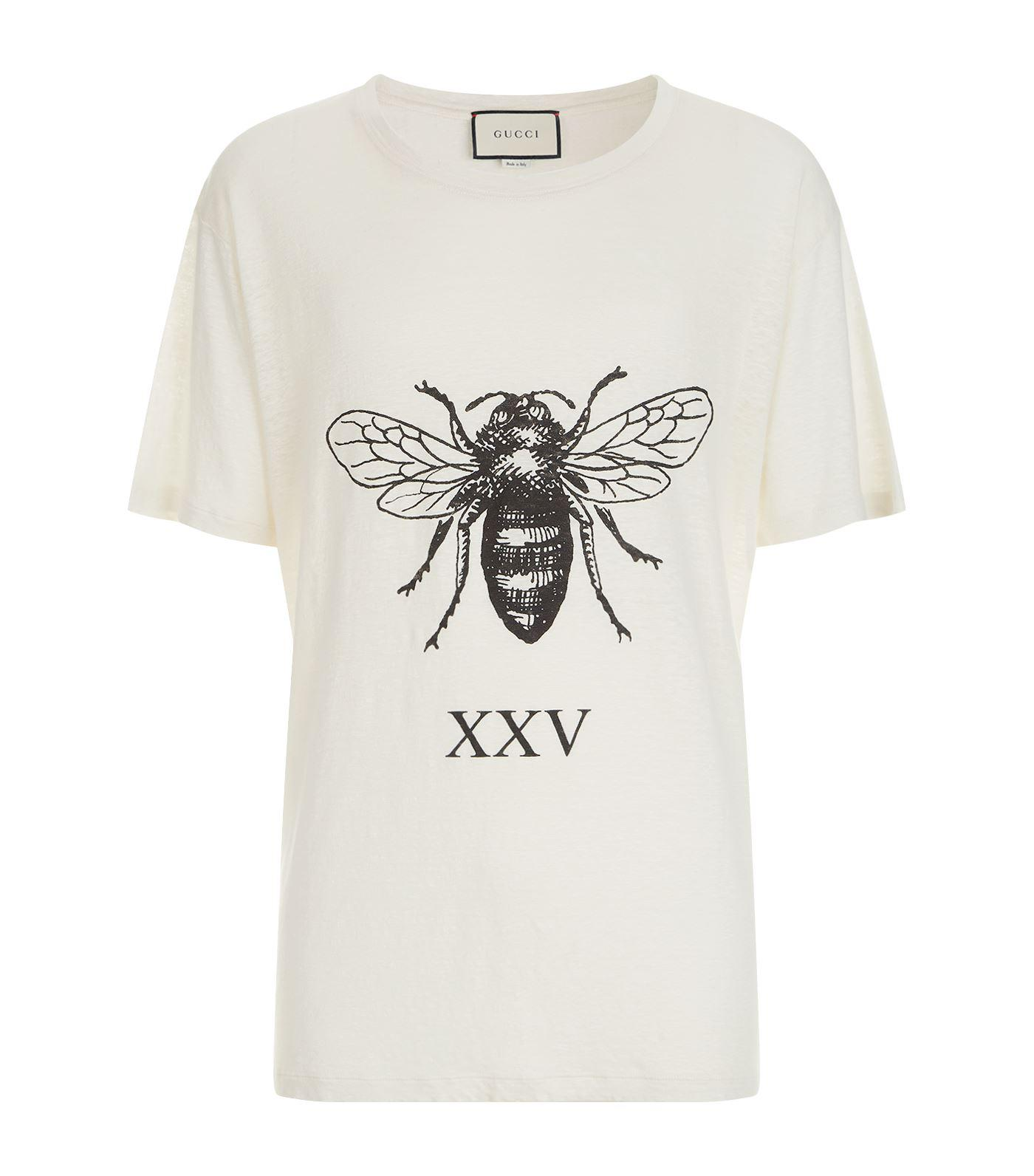 e64e2f7f Gucci Bee Print Linen T-shirt in White for Men - Lyst
