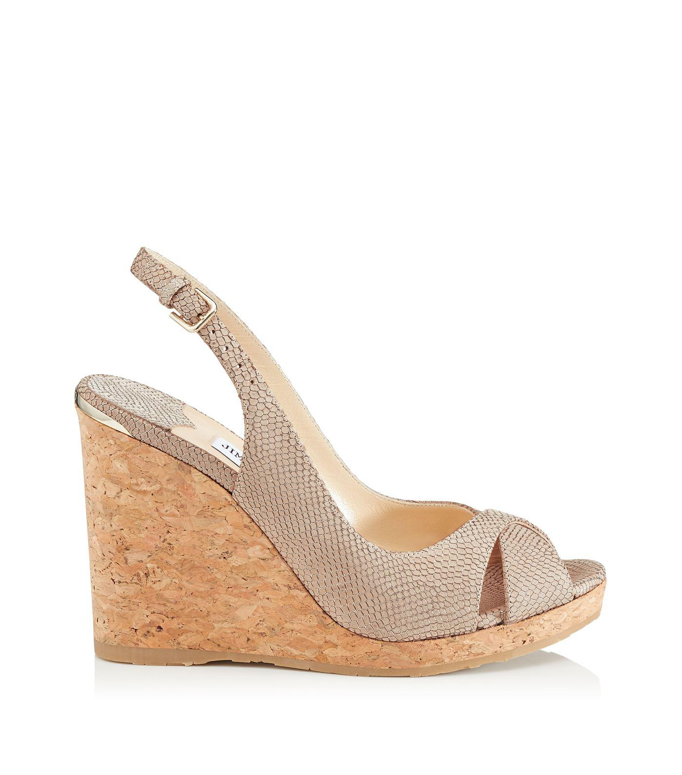 d1ffe9d56055 Lyst - Jimmy Choo Amely 105 Leather Slingback Wedge Sandals in Natural