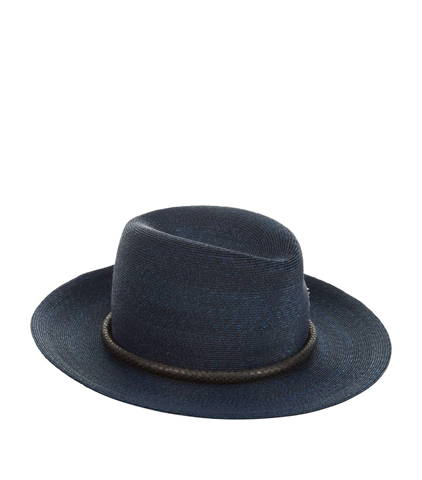 Lyst - Philip Treacy Snakeskin Trim Trilby Hat in Blue for Men 2f27584247cf