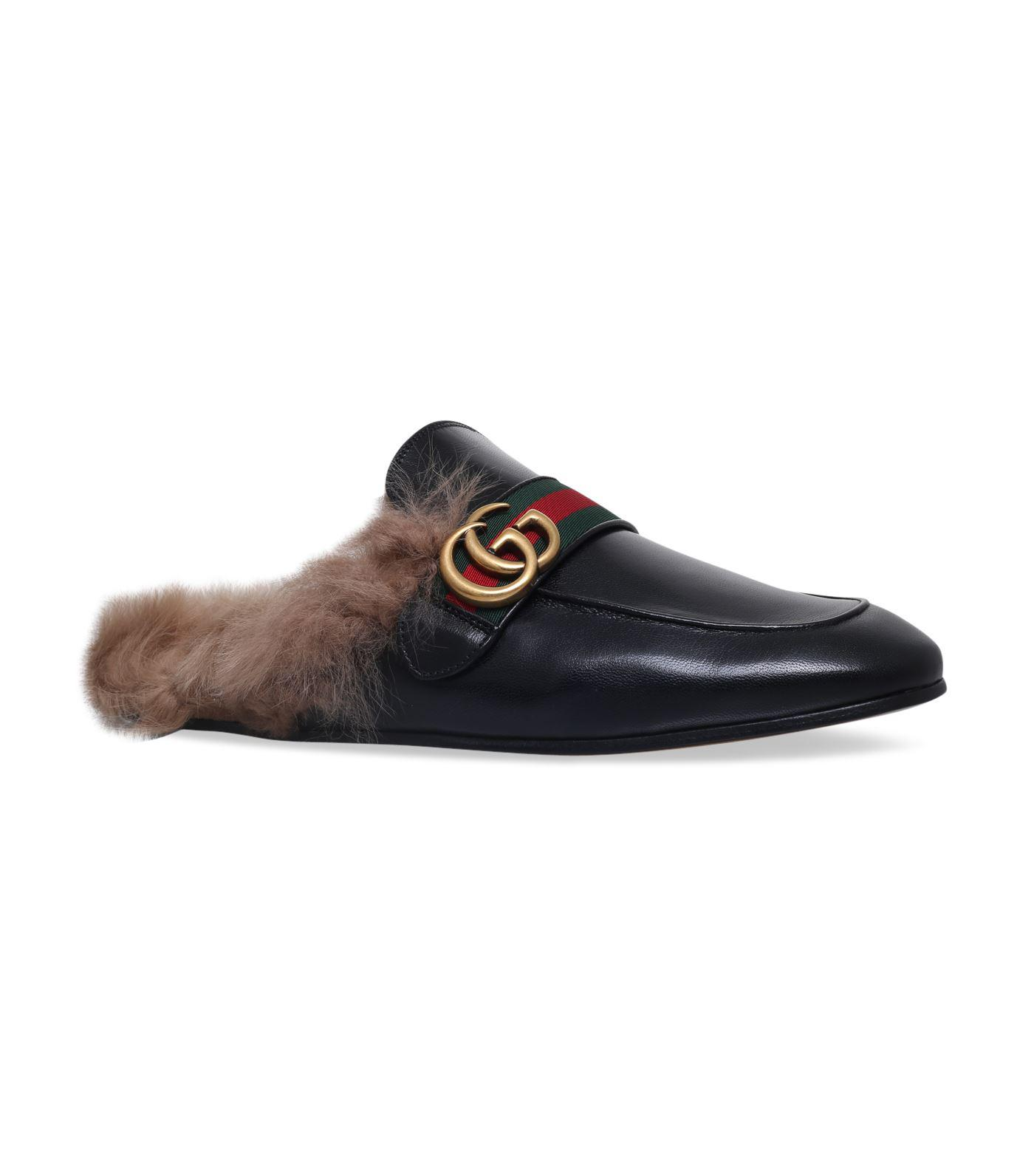 110050efcfc Lyst - Gucci Leather Princetown Gg Slippers in Black for Men - Save 17%
