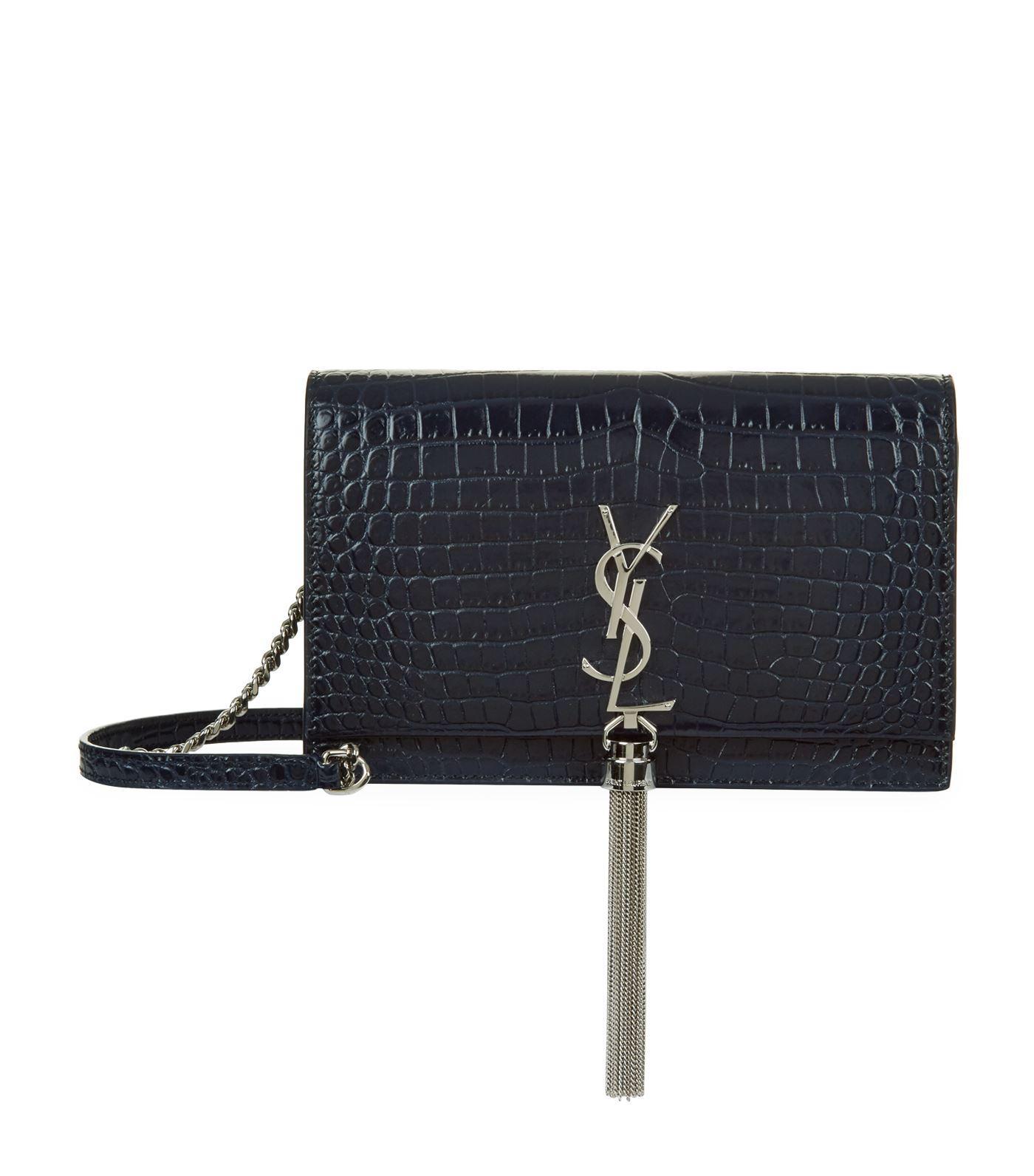 7131e8f2759 Saint Laurent Mini Croc-embossed Kate Tassel Shoulder Bag in Blue - Lyst