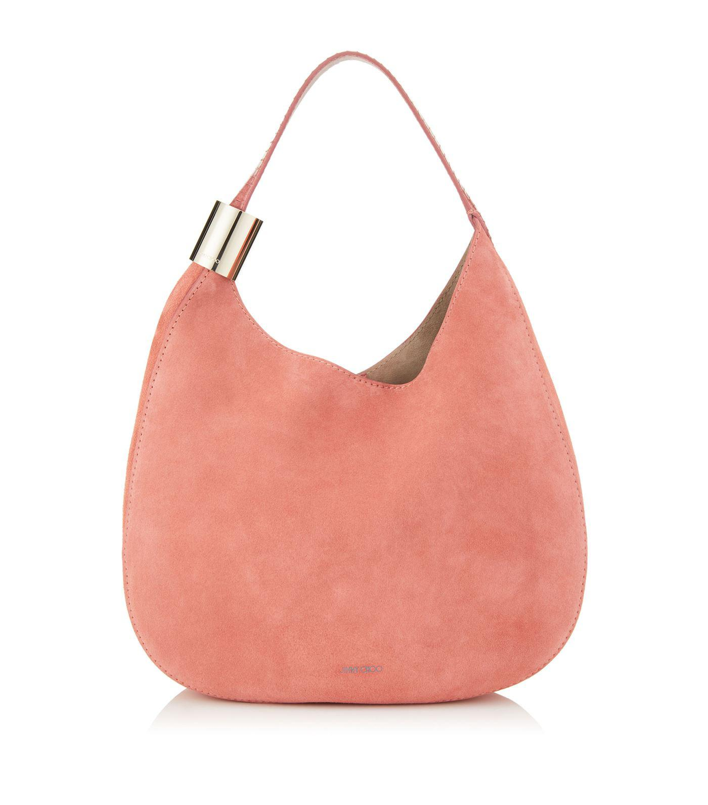 7d4c7c362e Lyst - Jimmy Choo Suede Stevie Shoulder Bag in Pink