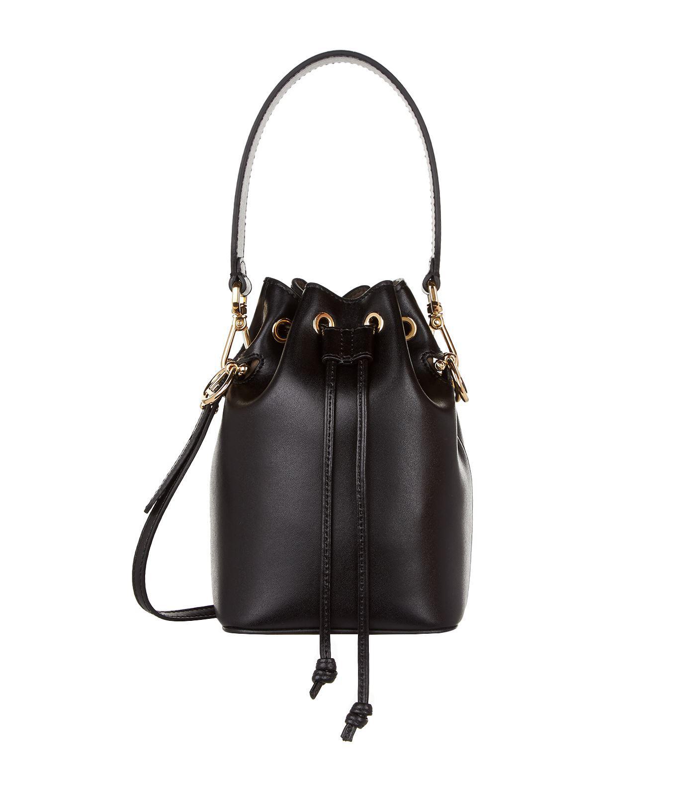 4f2e6e366e27 Fendi Mini Mon Tresor Leather Bucket Bag in Black - Save 10% - Lyst